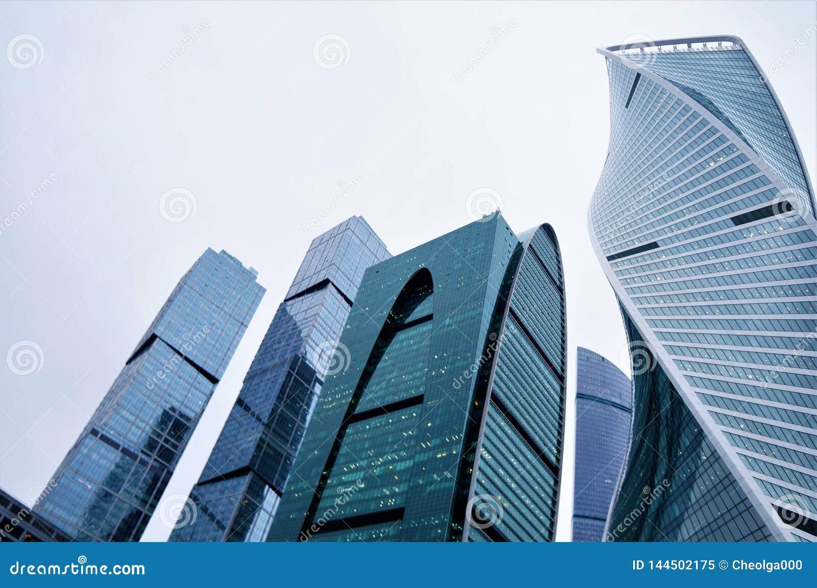 Luty 2019 Rosja moscow miasto dzień Kreml Moscow zewnętrznego szklani wieżowowie centrum biznesu błękit zabarwiający szkło