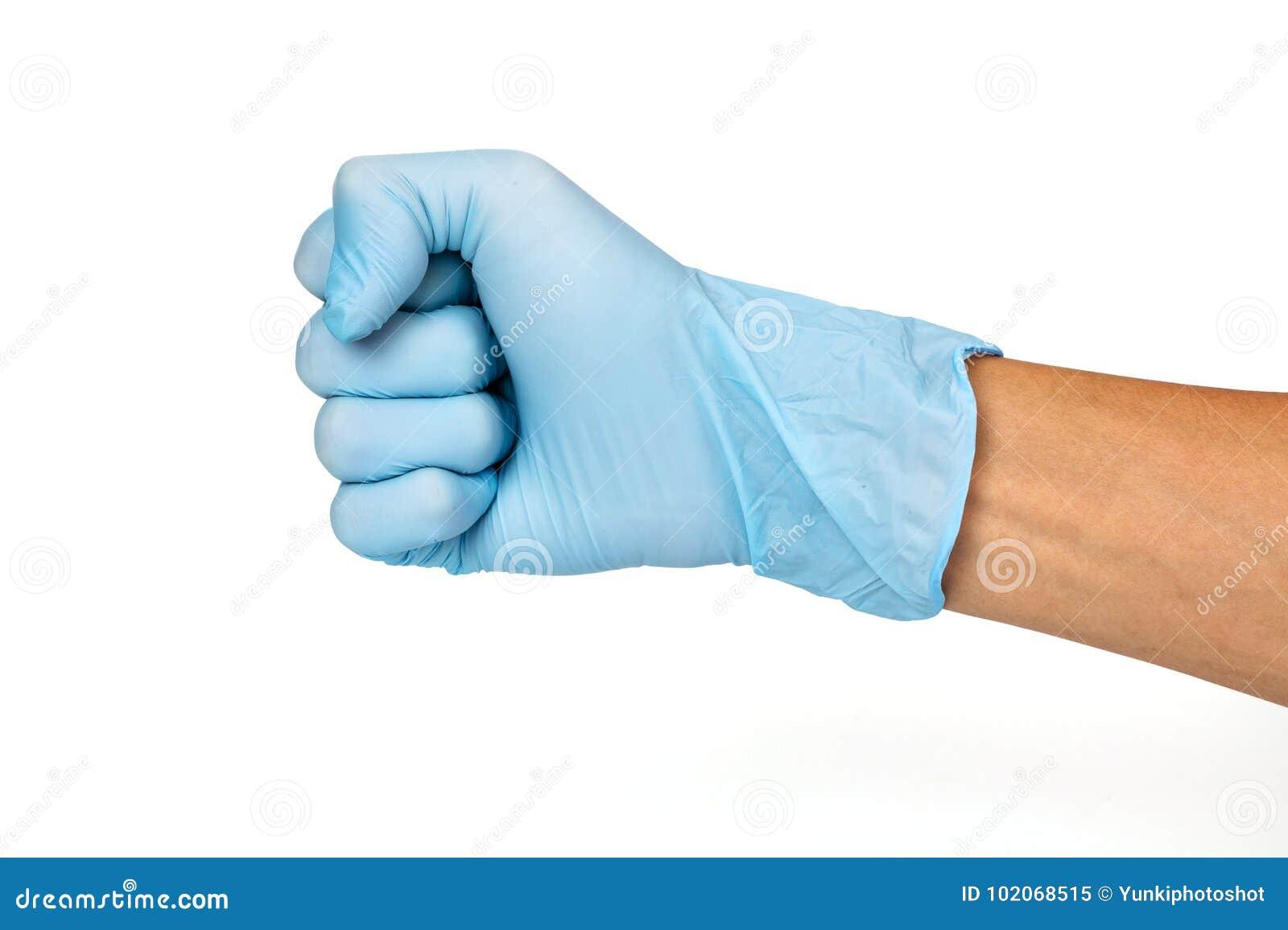 A luva da mão do doutor mostra o punho ou 0 numérico