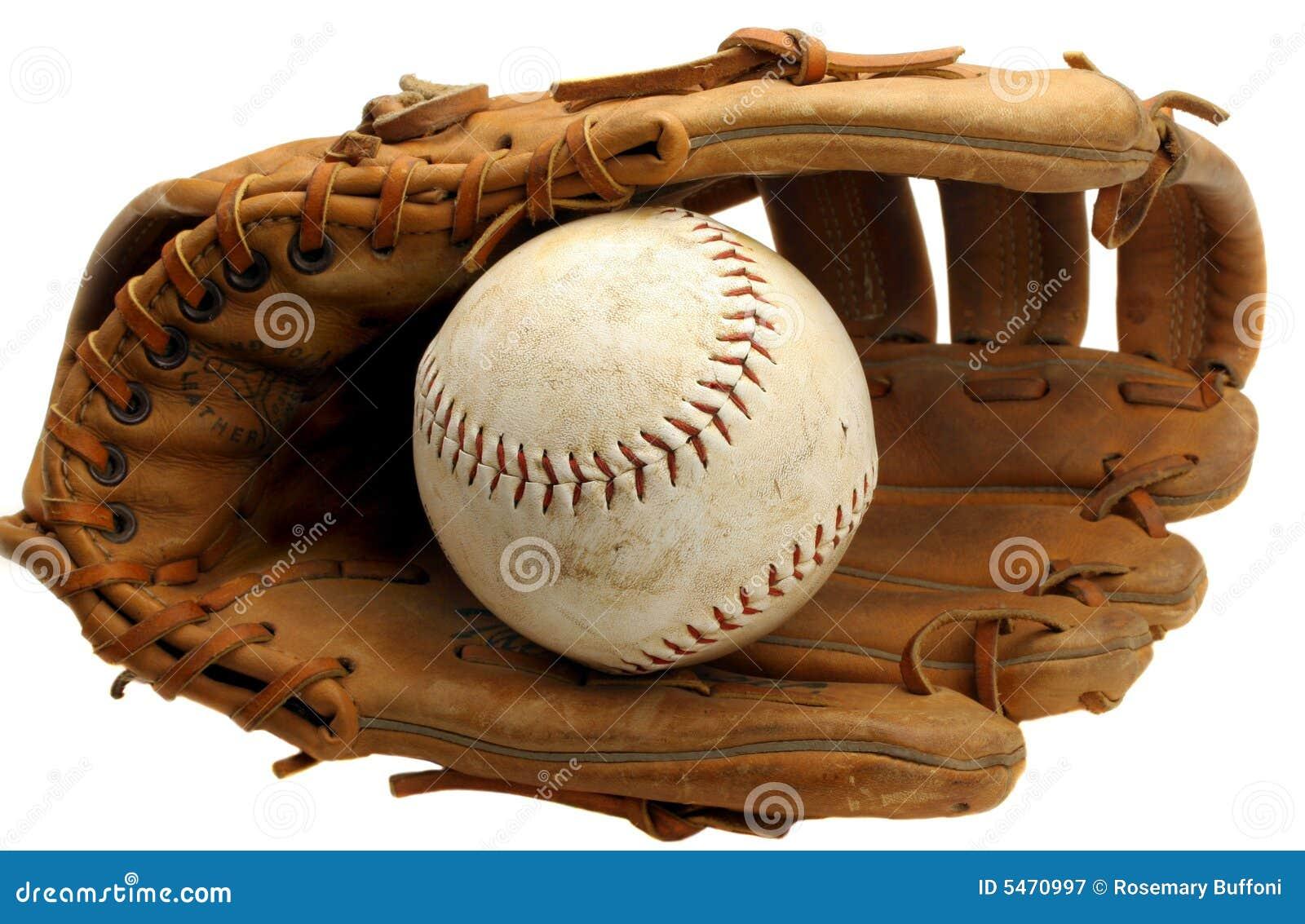 Luva e softball do basebol