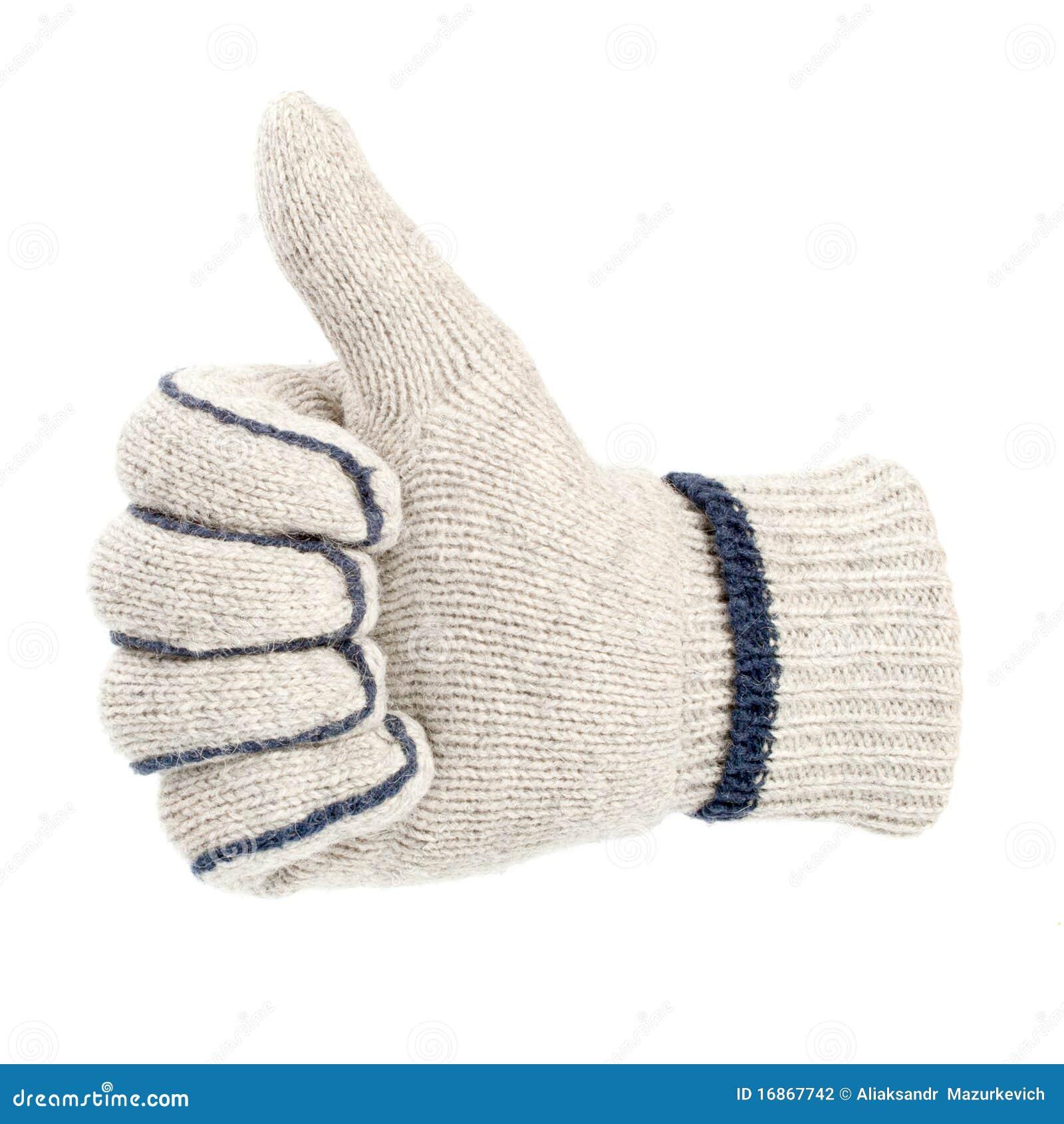 A luva que mostra os polegares levanta o sinal