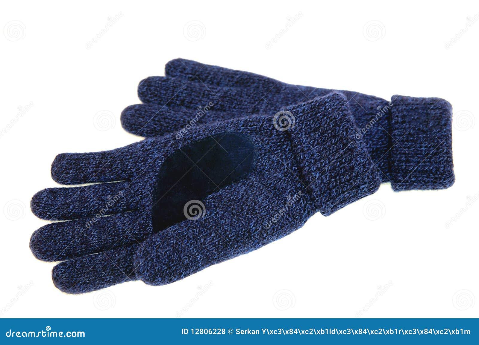 Luvas de lã azuis
