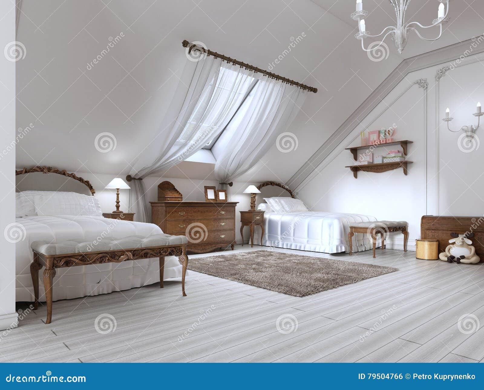 Luxe children x27 s ruimte met twee bedden en een dakvenster stock illustratie afbeelding - Kind ruimte luxe ...