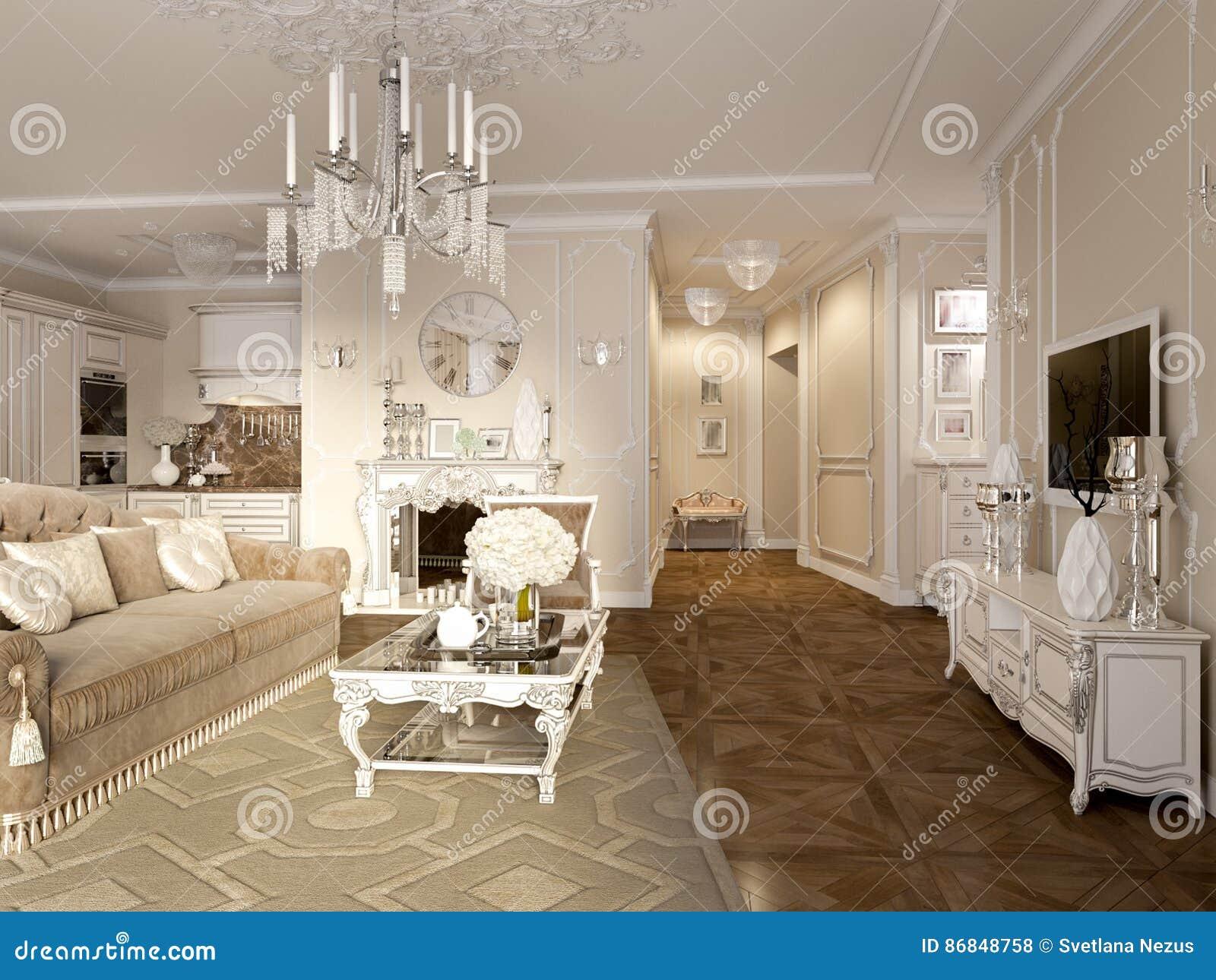 Luxe klassiek binnenland van eetkamer keuken en woonkamer stock