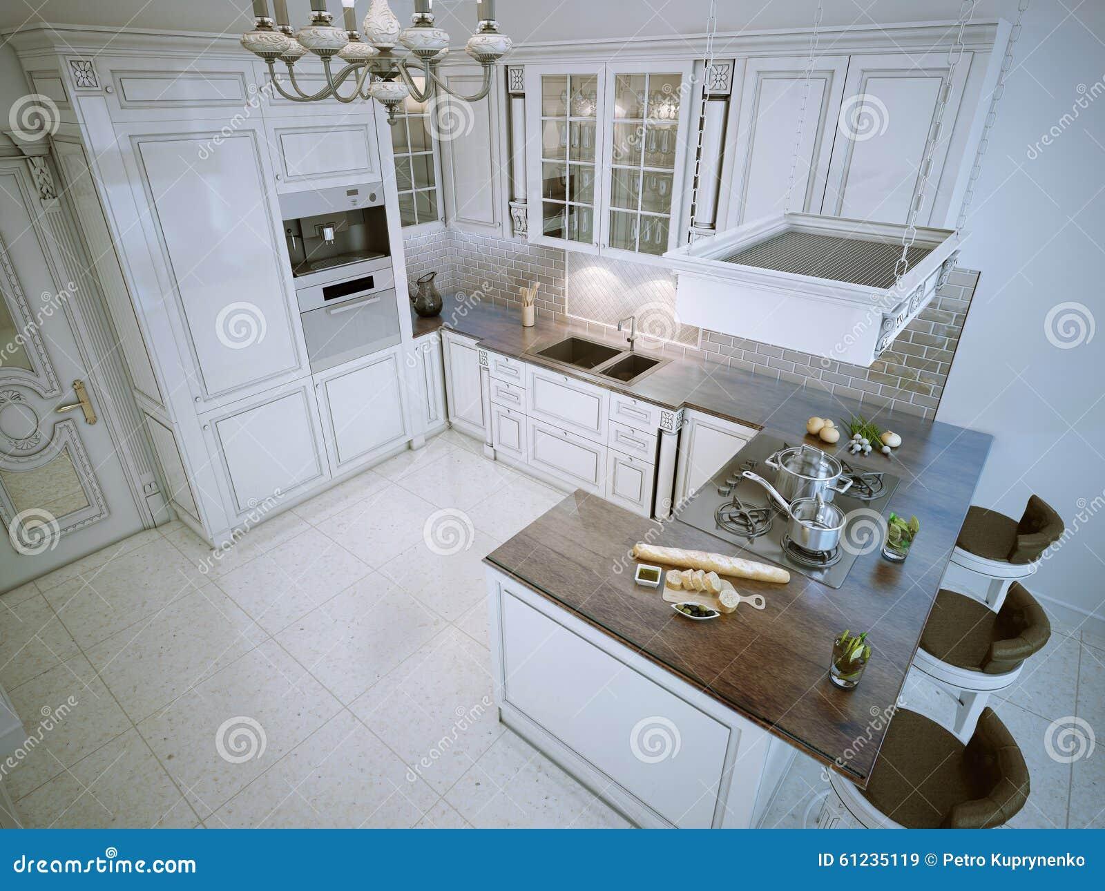 L Vormige Keuken : Luxe l vormige keuken stock illustratie. illustratie bestaande uit