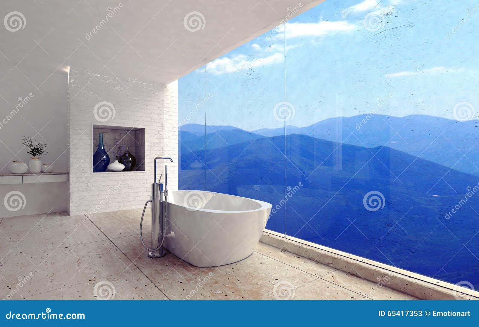 Luxe moderne badkamers met een spectaculaire mening stock illustratie afbeelding 65417353 - Badkamers ...