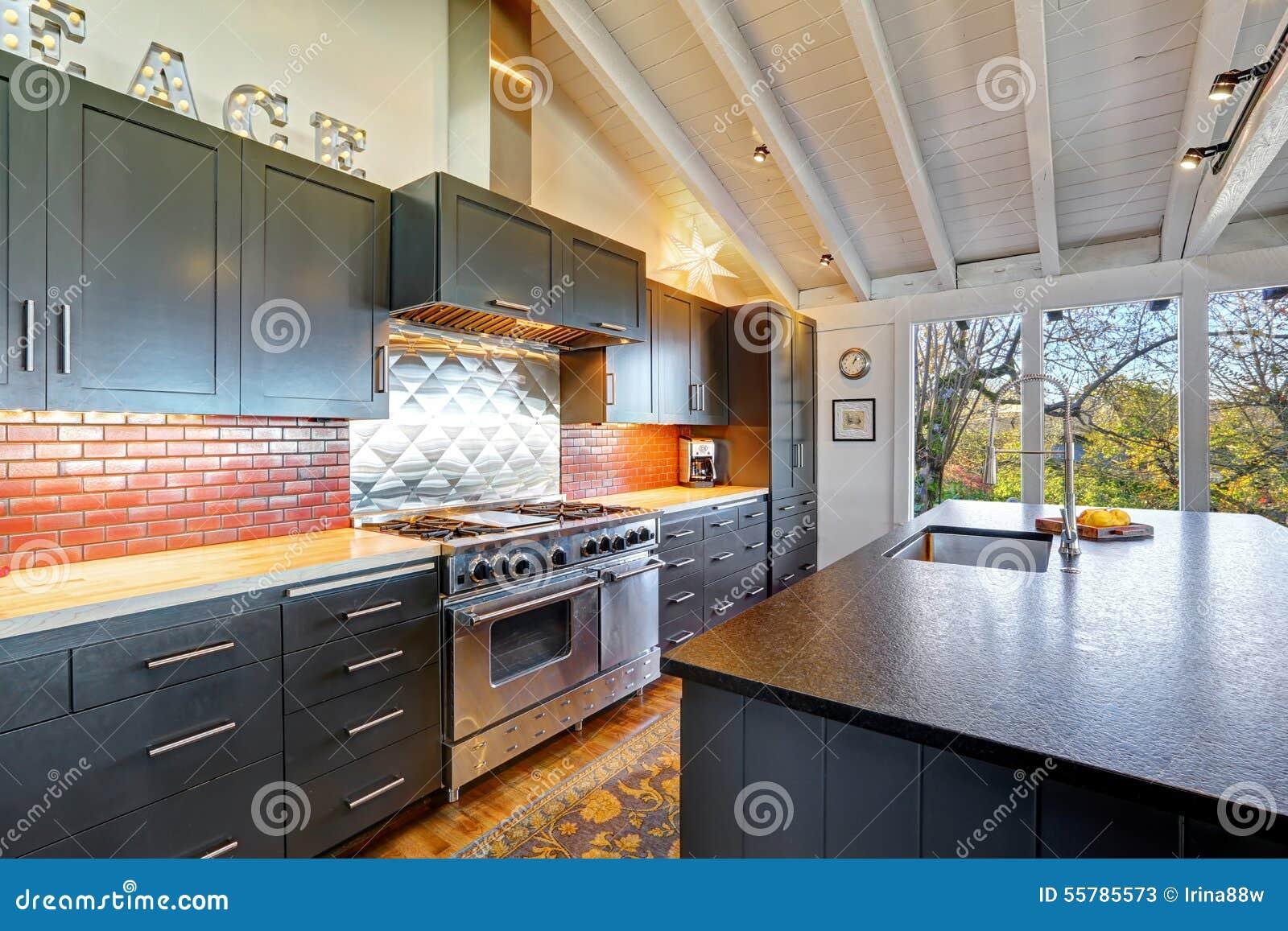 Luxe mooie donkere moderne keuken met gewelfd houten plafond stock ...