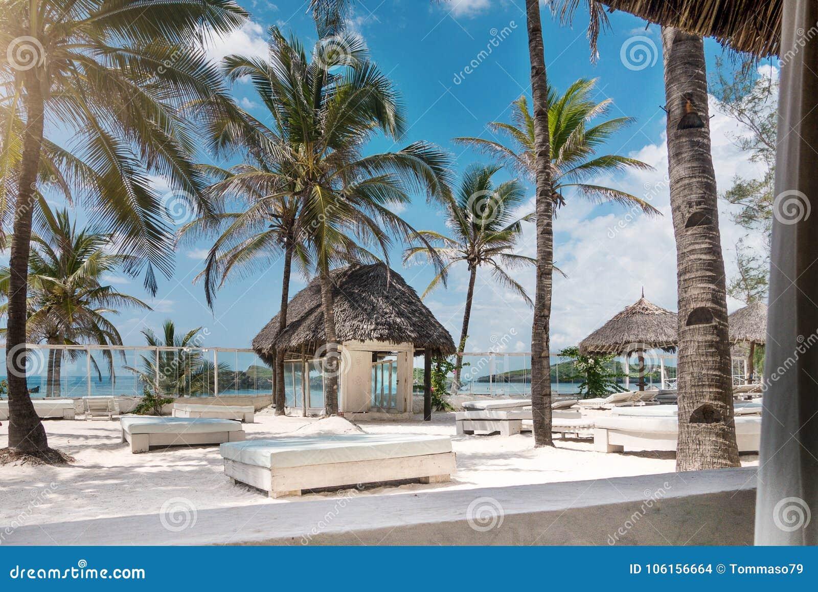 Luxe tropisch strand op de zomer