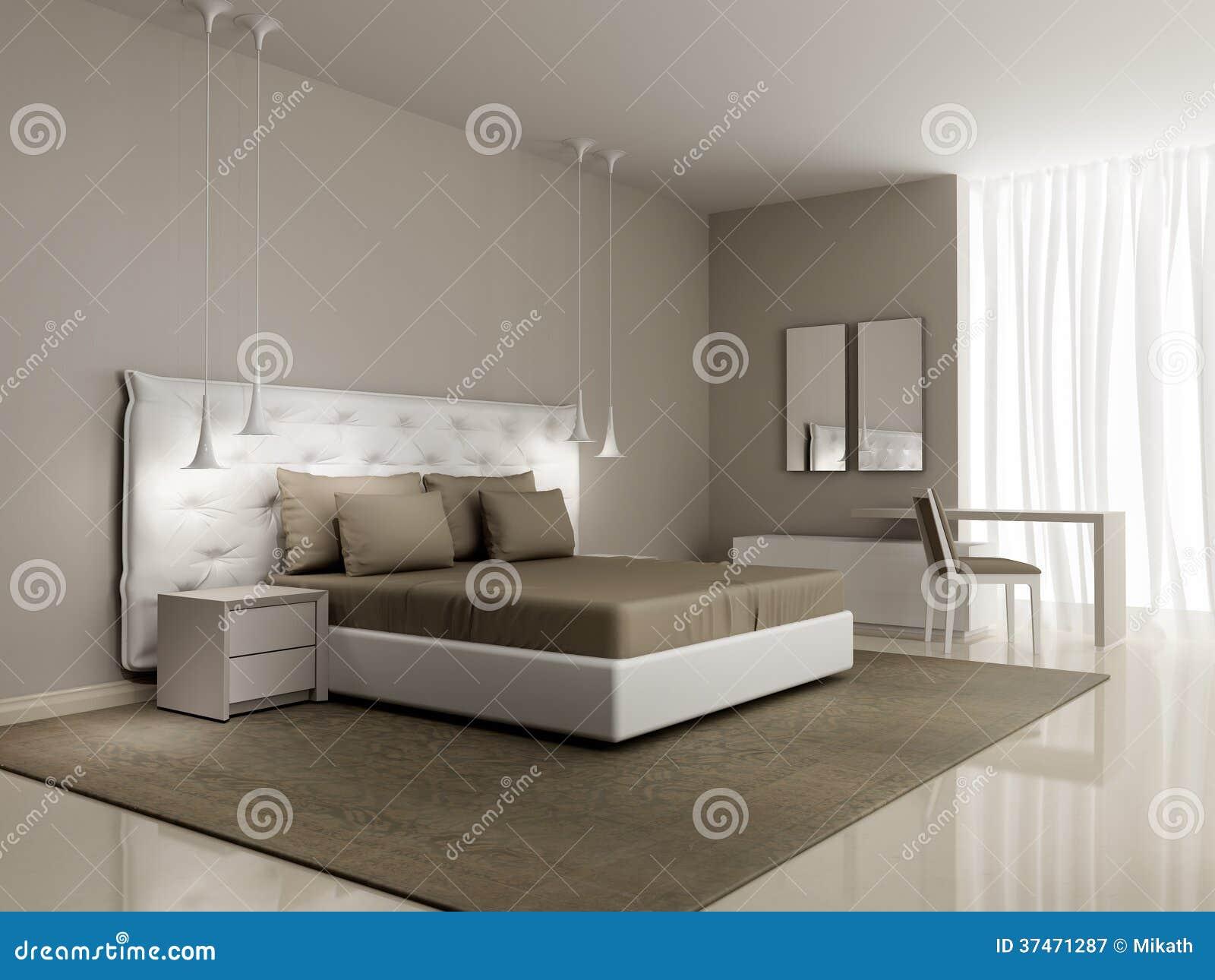 Luxe witte slaapkamer met dichtgeknoopt bed royalty vrije stock ...