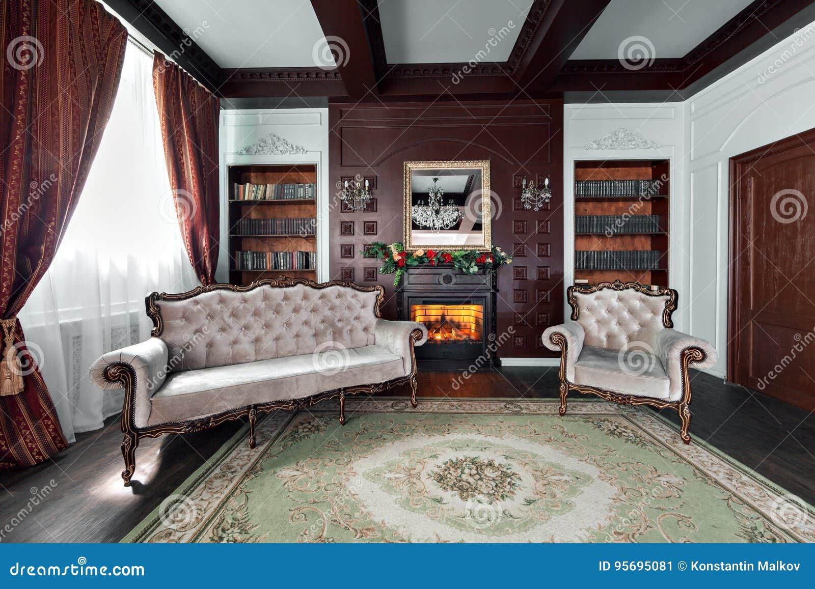 Luxebinnenland van huisbibliotheek Woonkamer met elegant meubilair