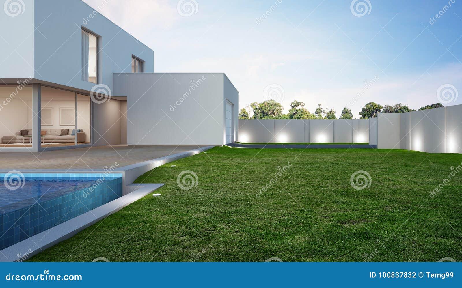Luxehuis met zwembad en terras dichtbij gazon in modern ontwerp