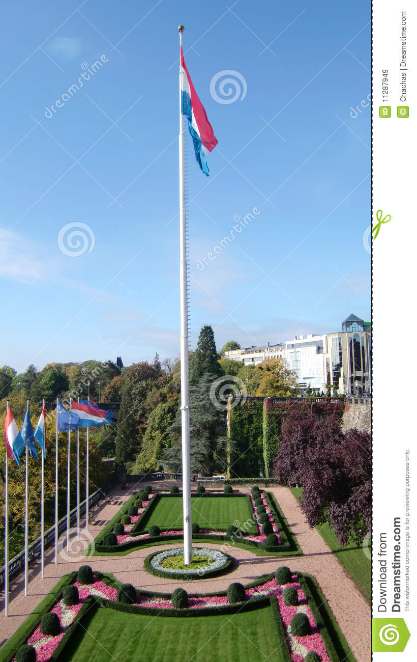 Luxembourg flag and garden