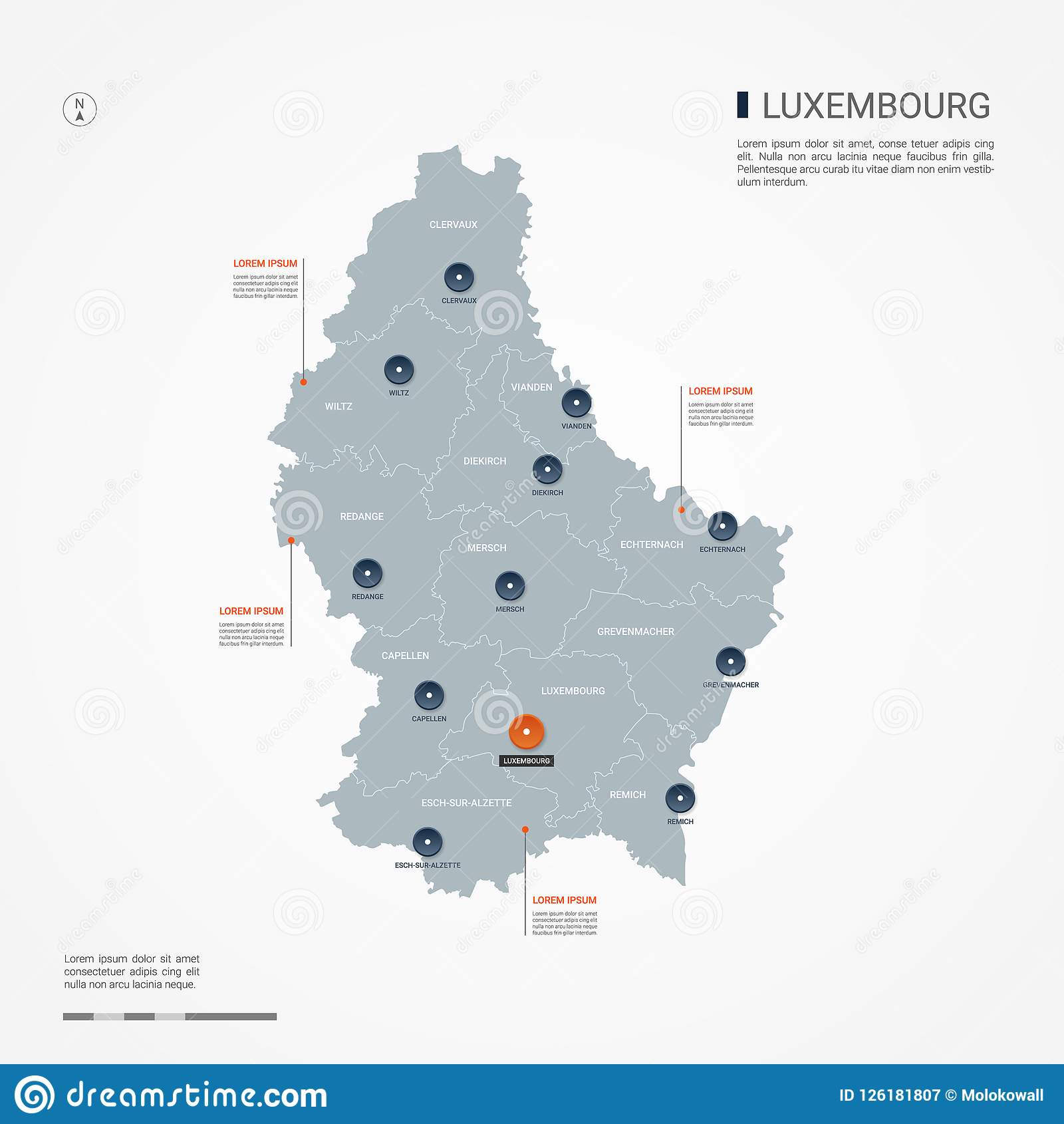 Luxembourg Infographic Map Vector Illustration. Stock Vector ...
