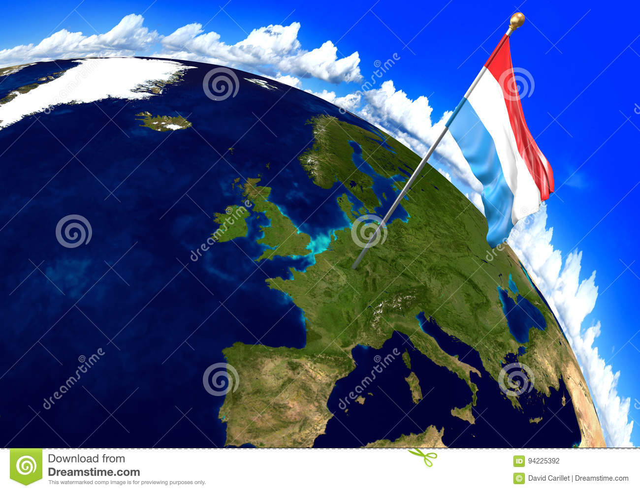 Luxembourg National Flag Marking The Country Location On World Map ...