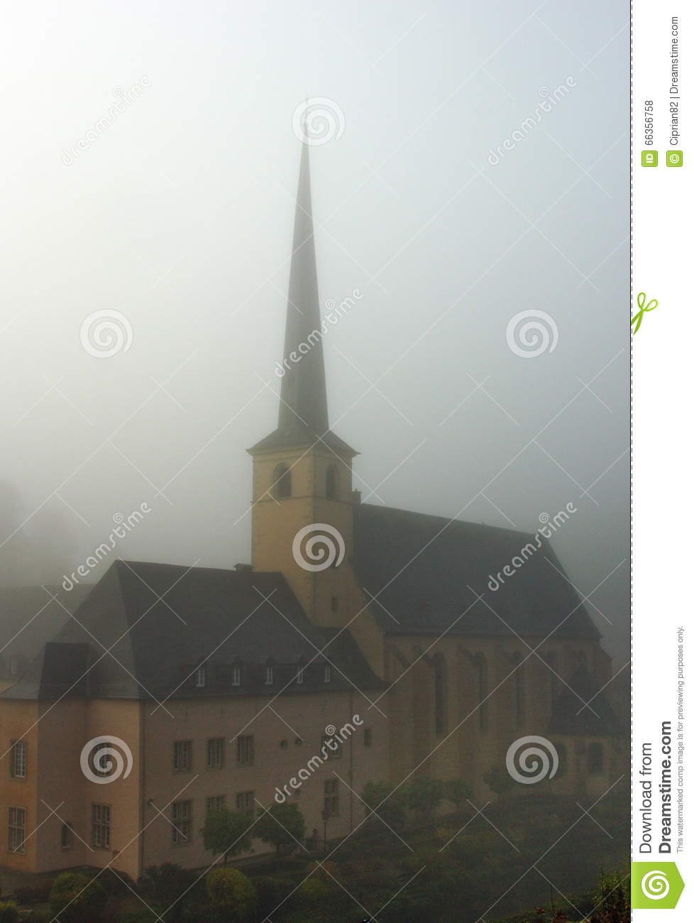 Luxembourg old monastery in the fog