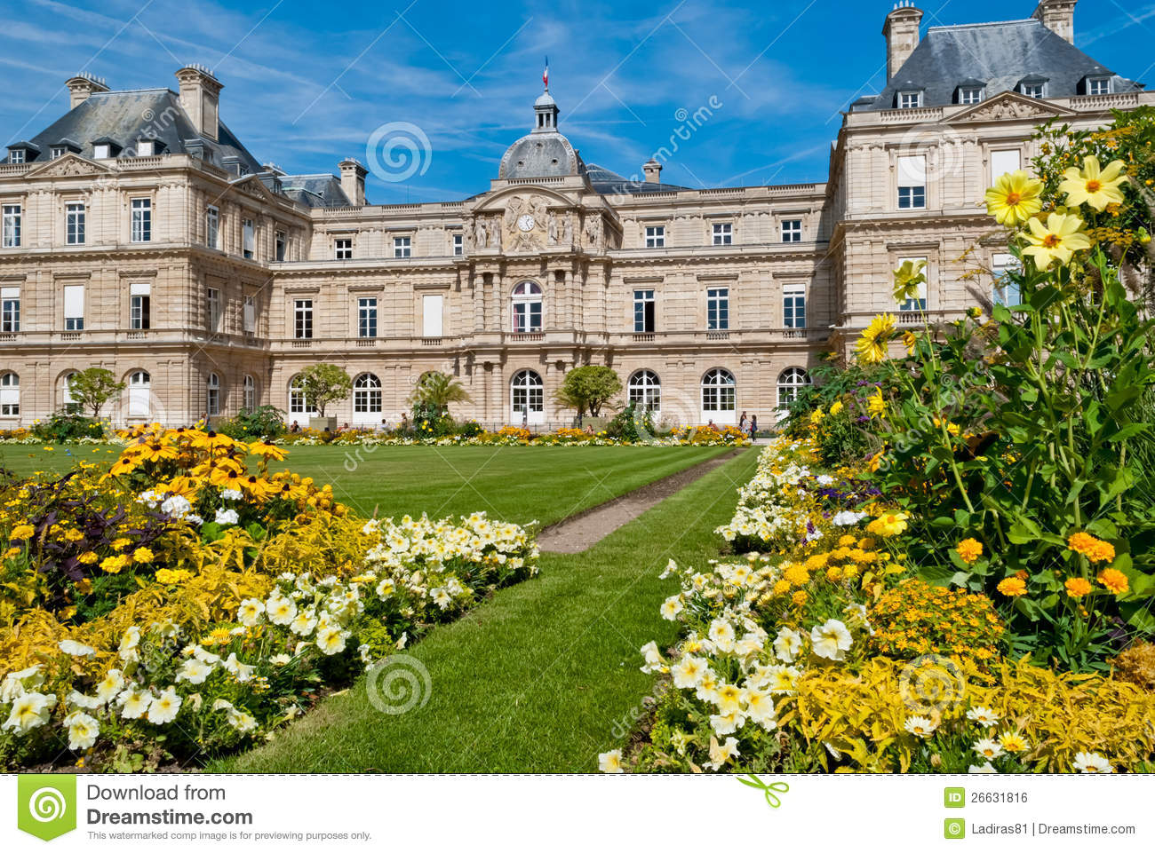 luxembourg palace and gardens paris royalty free stock image image 26631816. Black Bedroom Furniture Sets. Home Design Ideas