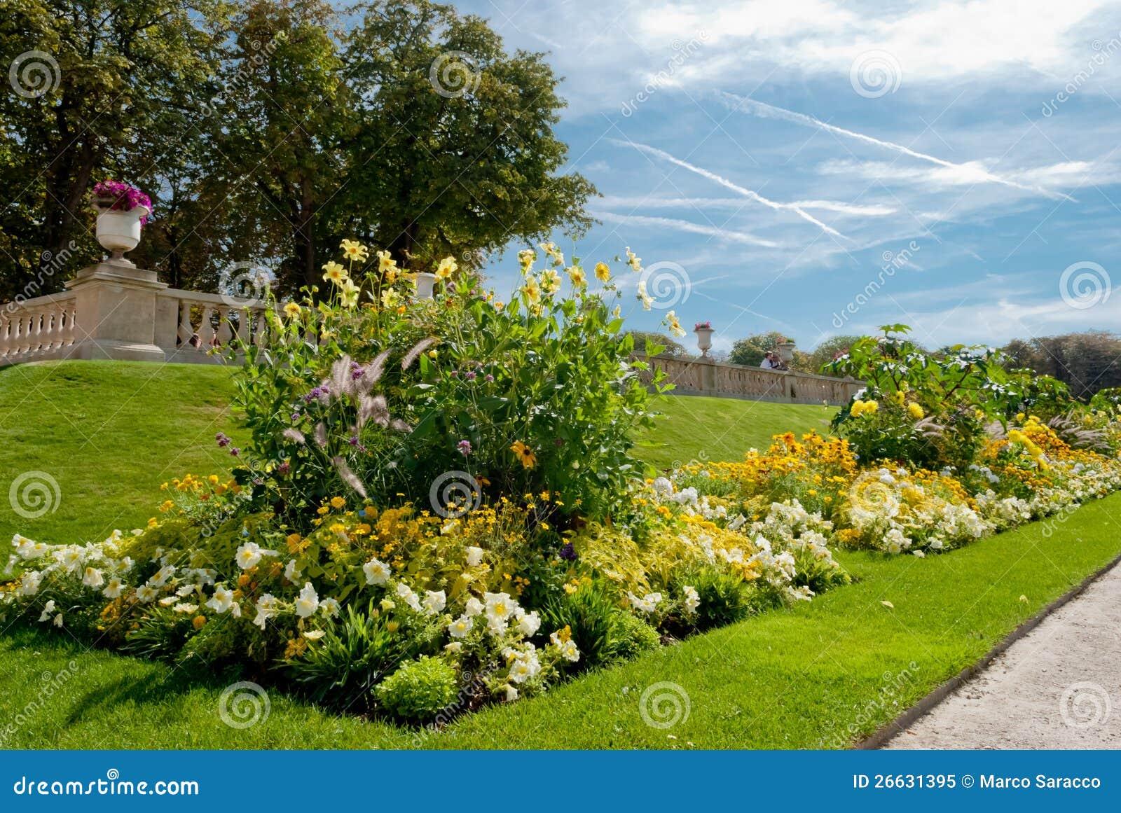 Luxembourg trädgårddetalj, Paris, Frankrike