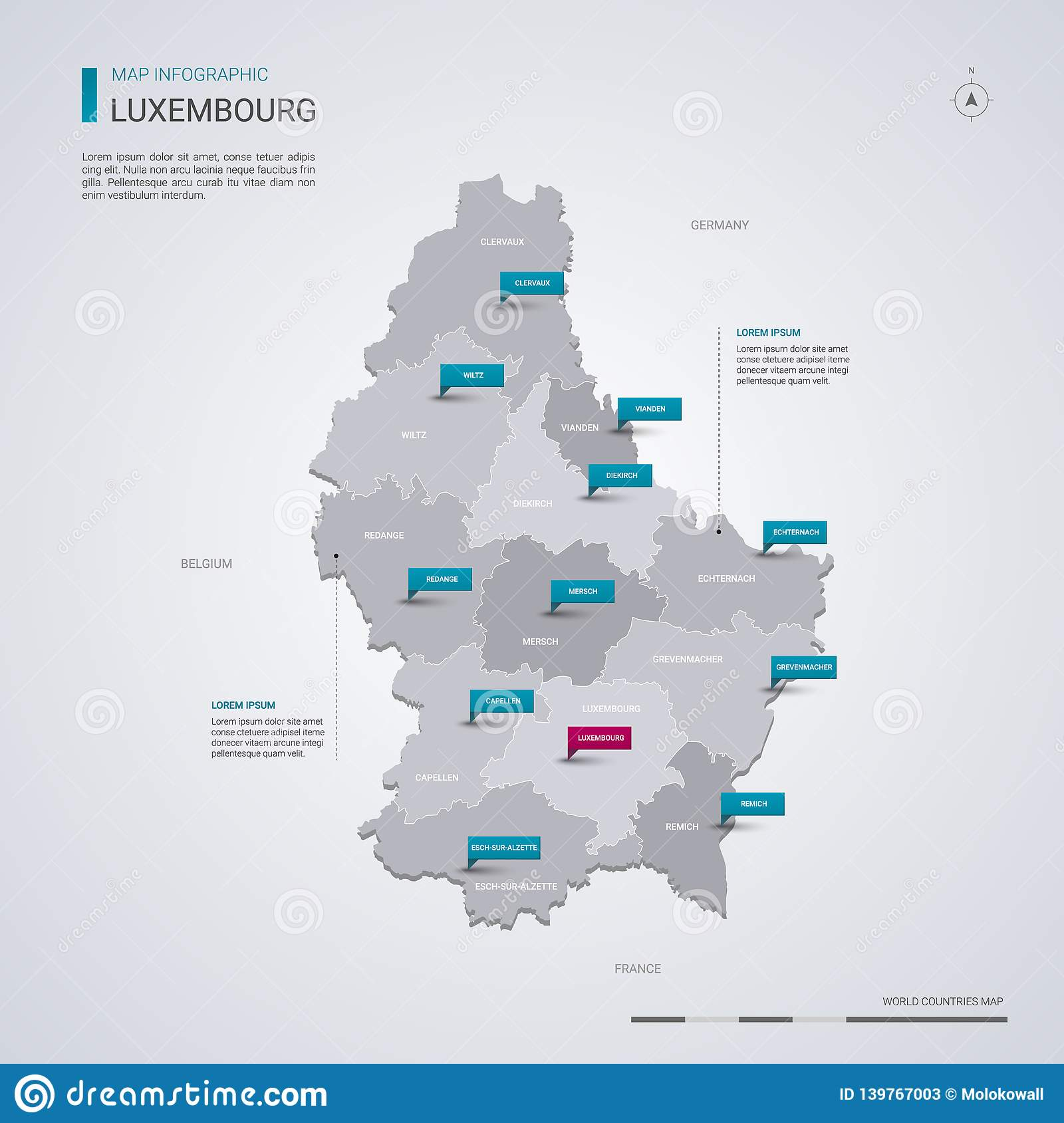 Luxembourg Vector Map With Infographic Elements, Pointer ...