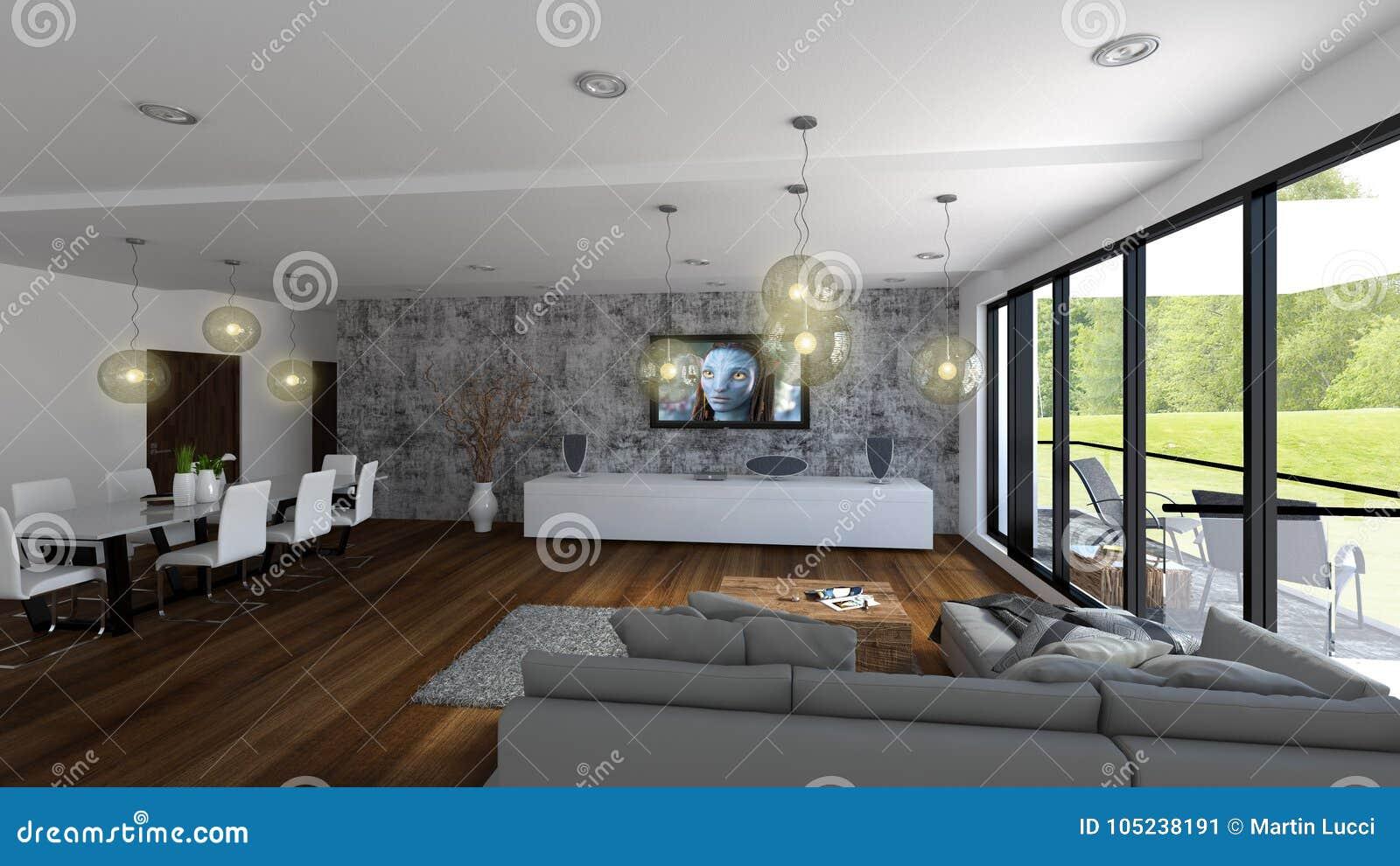 Luxewoonkamer met mening aan groen golf