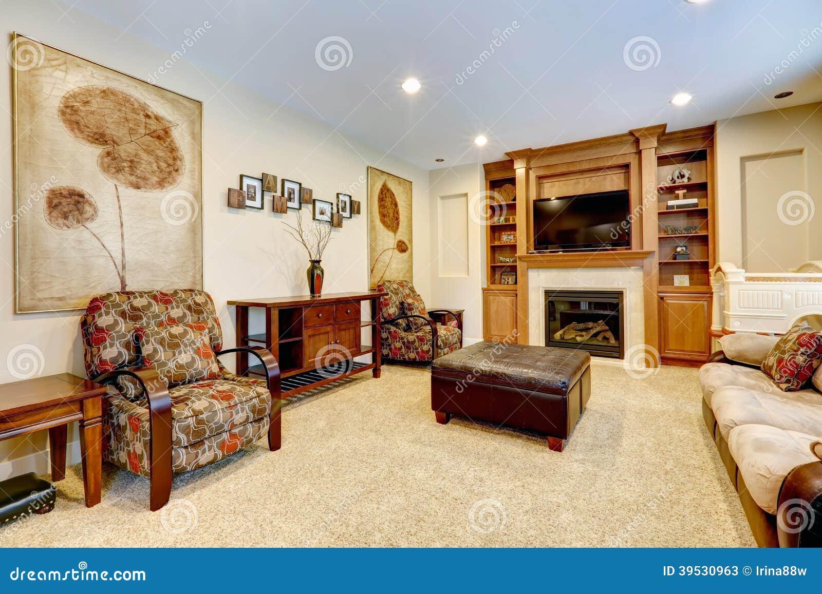Luxewoonkamer met open haard en tv stock foto afbeelding 39530963 - Deco moderne open haard ...