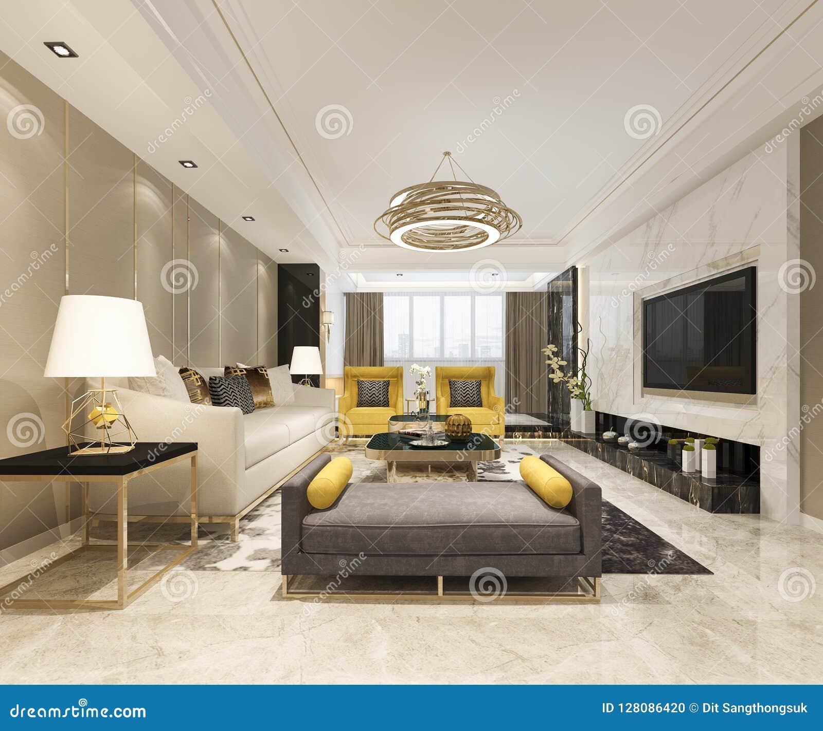 Luxo Da Rendicao 3d E Sala De Visitas Moderna Com Sofa De Couro