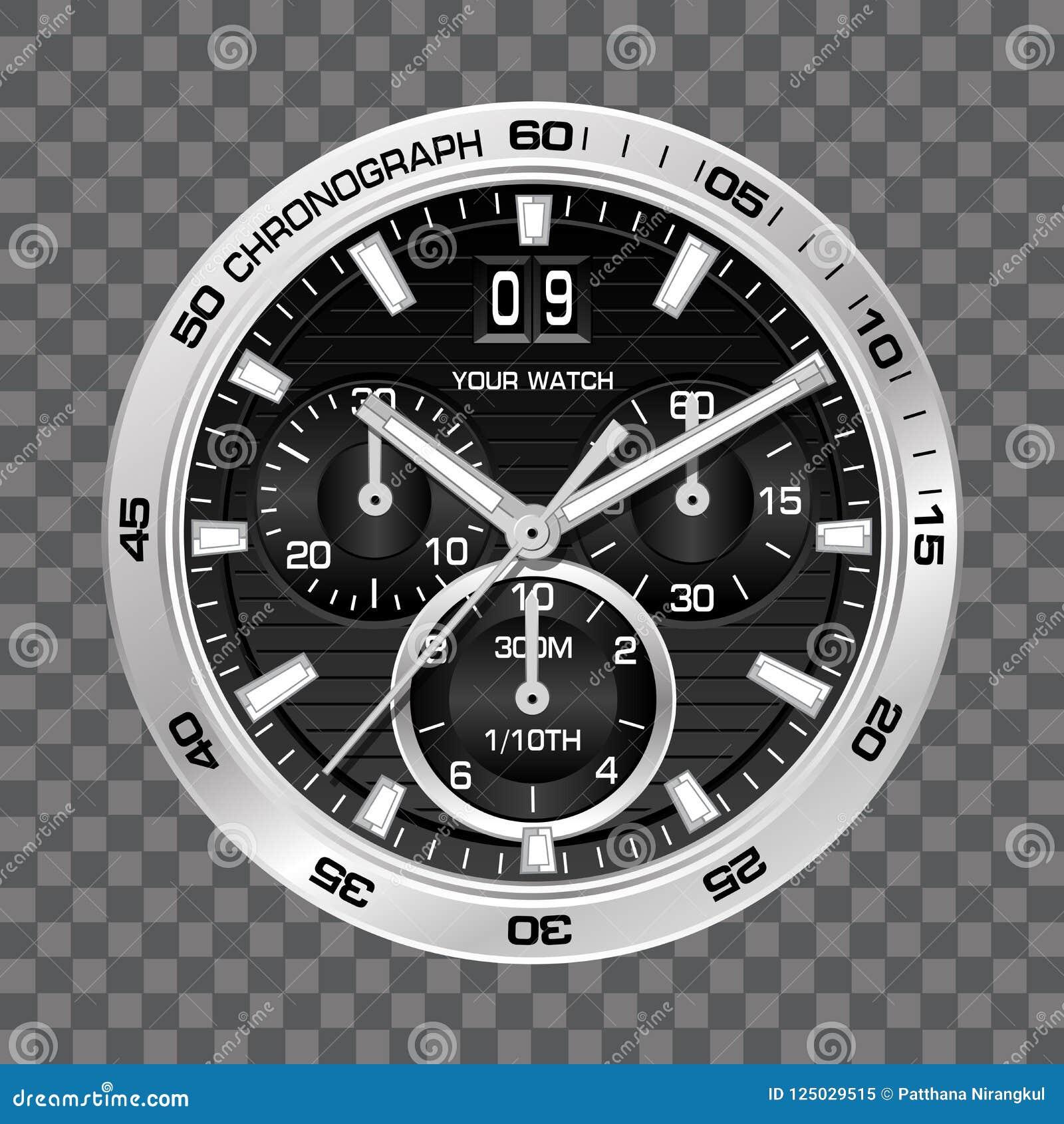 Luxo de prata da cara do cronógrafo do pulso de disparo do relógio no vetor quadriculado cinzento do fundo