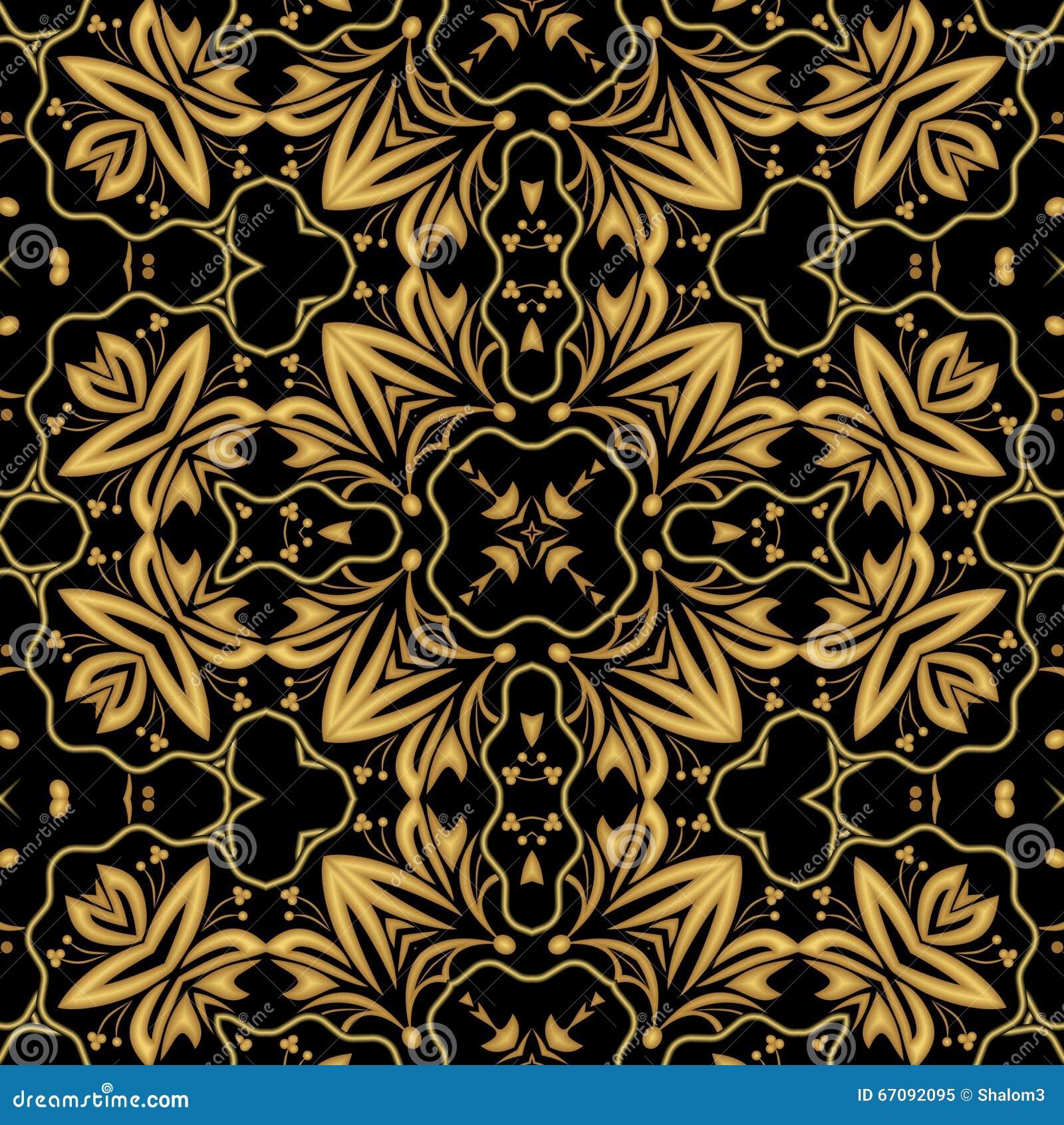 Luxueuze gouden in reliëf gemaakte brokaat of damast oosterse patronen, symmetrisch ornament op zwarte achtergrond