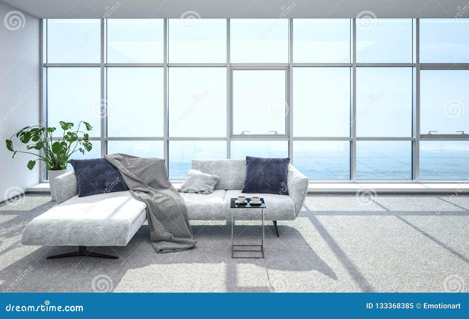 Luxueuze, heldere penthousewoonkamer en bank