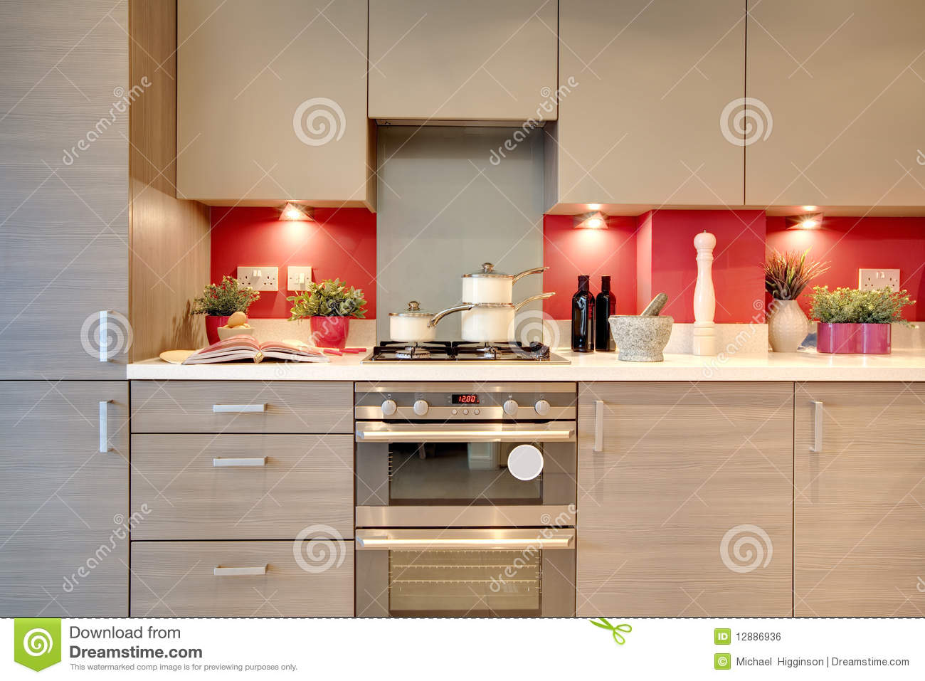 Keuken abstract rood