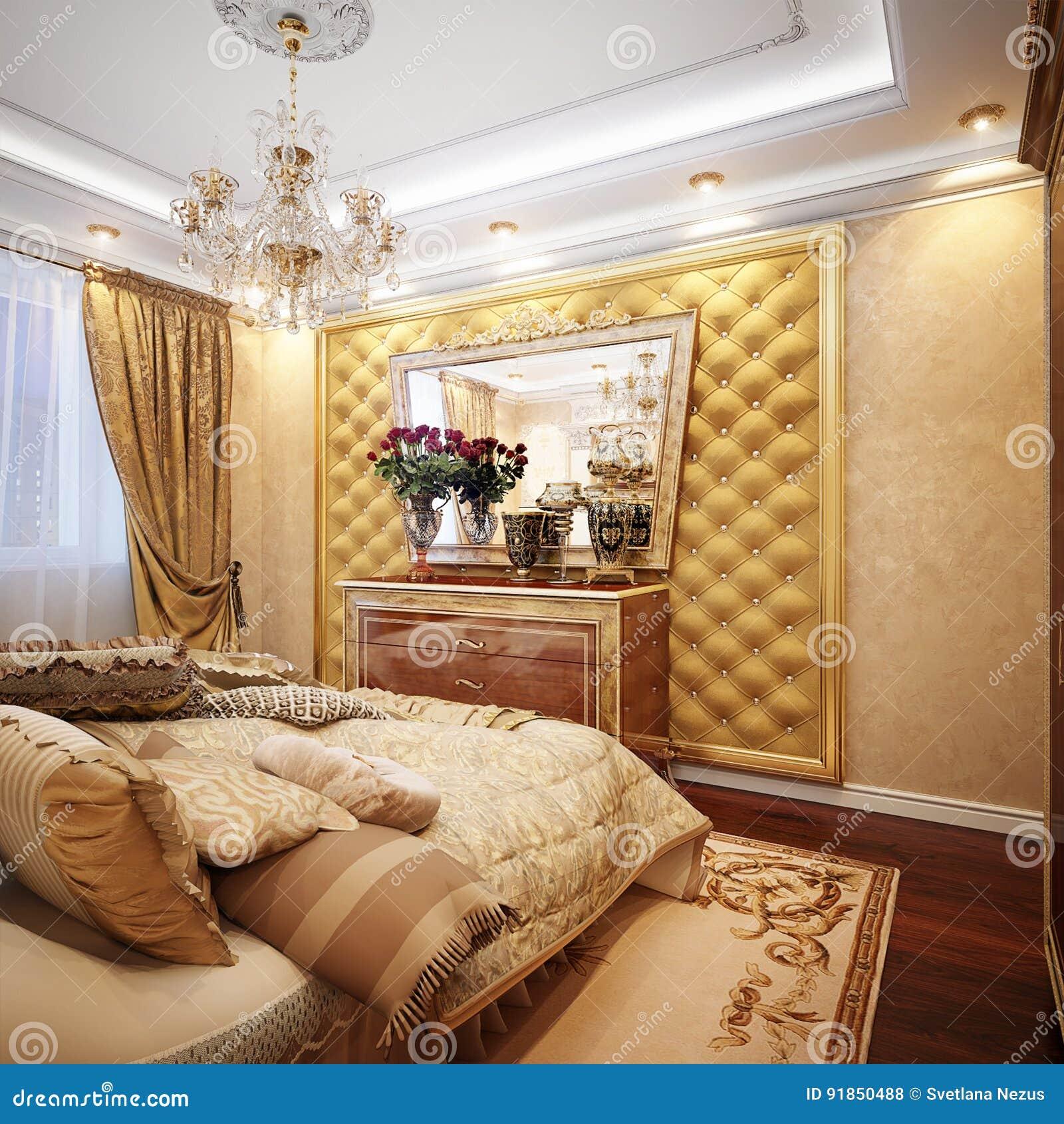 Luxueuze Klassieke Barokke Slaapkamer Binnenlandse Desig Stock ...