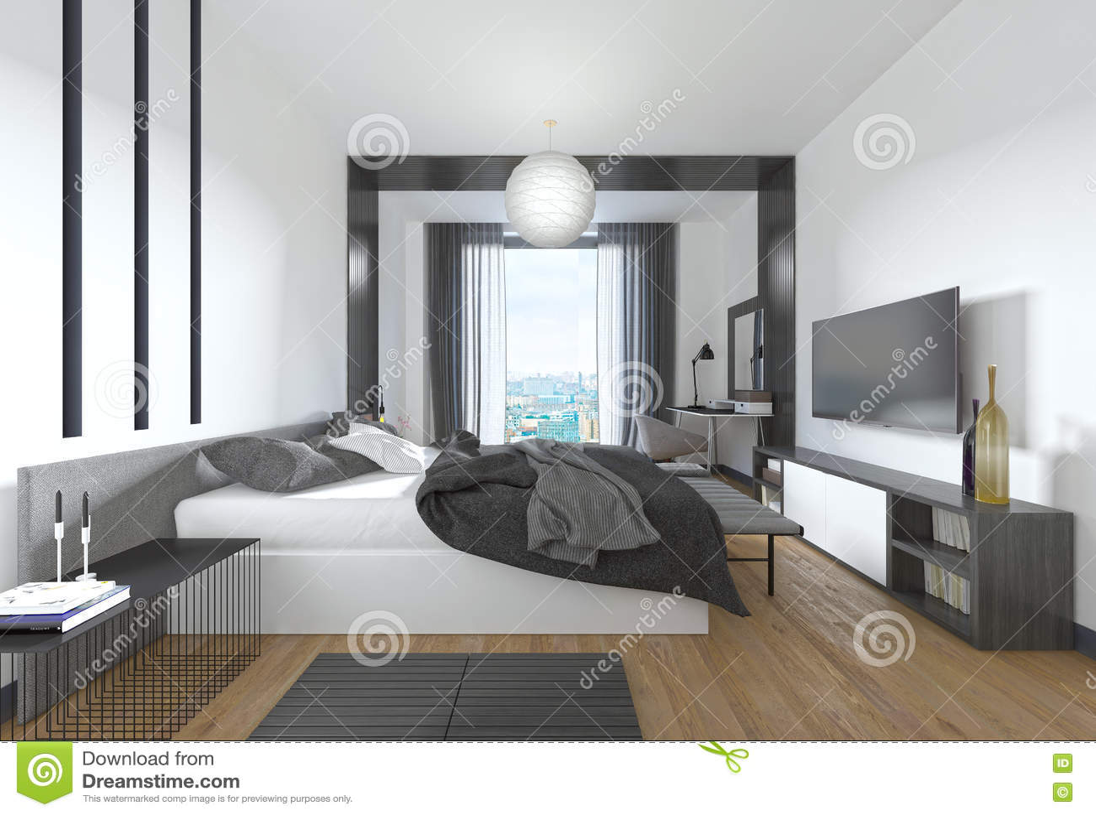 Luxueuze moderne slaapkamer in eigentijdse stijl in zwarte en whi