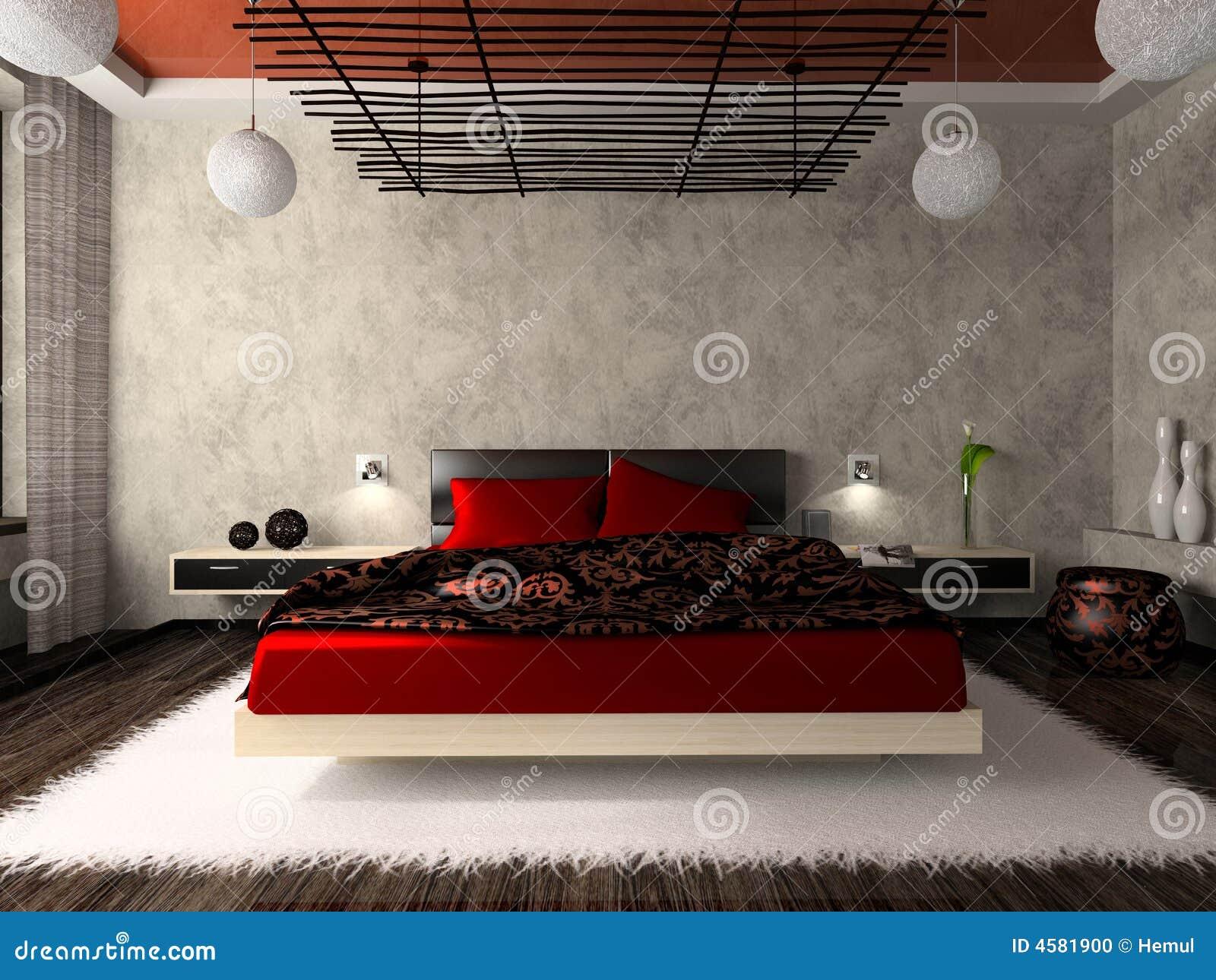Slaapkamer In Rood : Luxueuze Slaapkamer In Rood Stock Foto – Beeld: 4581900