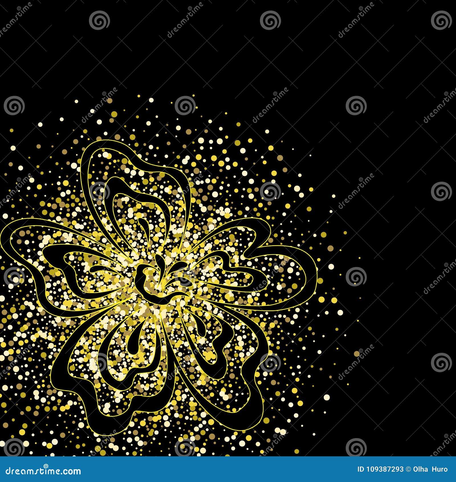 Luxuoso, misterioso, vintage, respingo abstrato do ouro líquido em um fundo preto