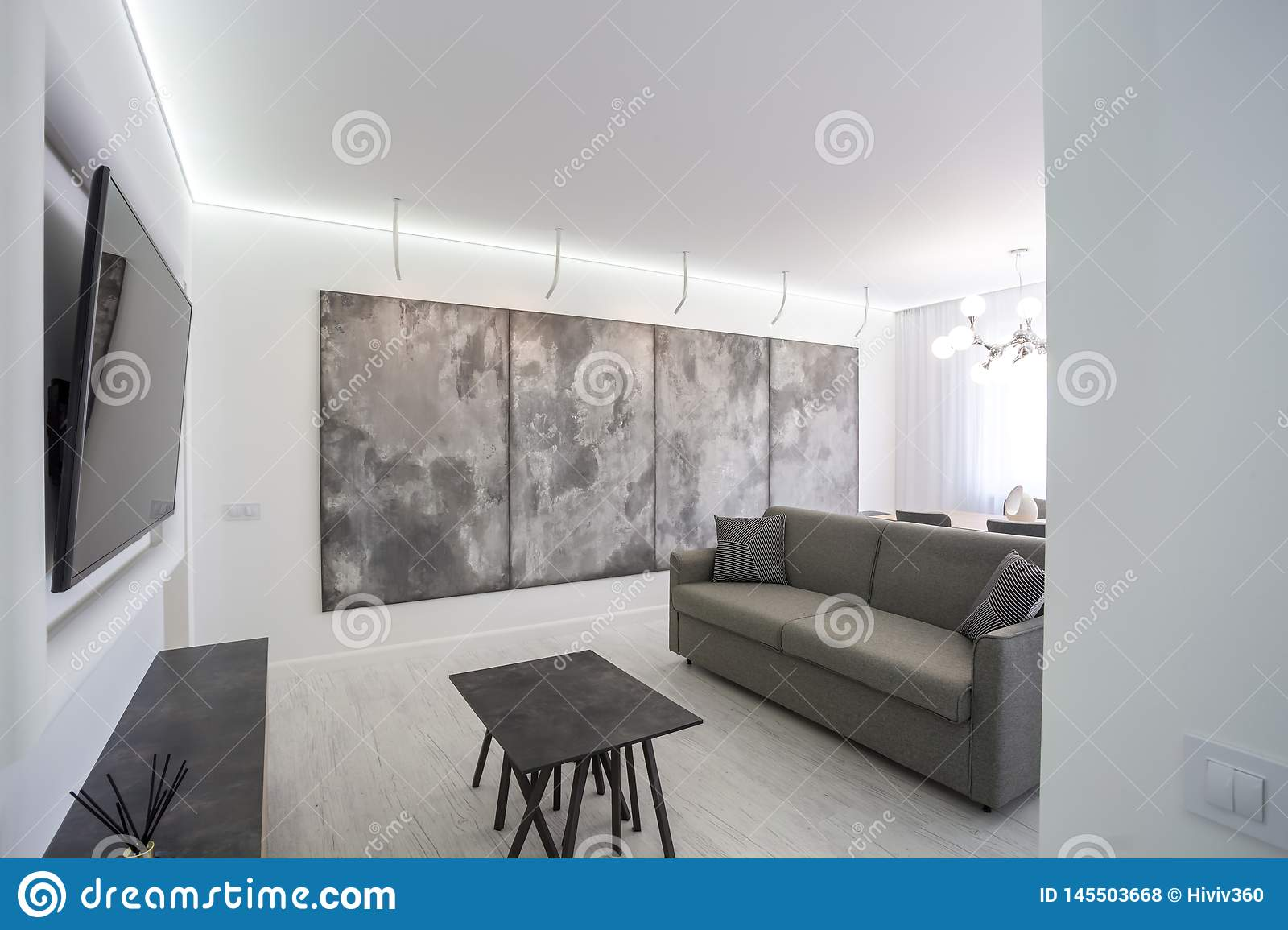 luxure hall interior loft flat in grey style design with sofa