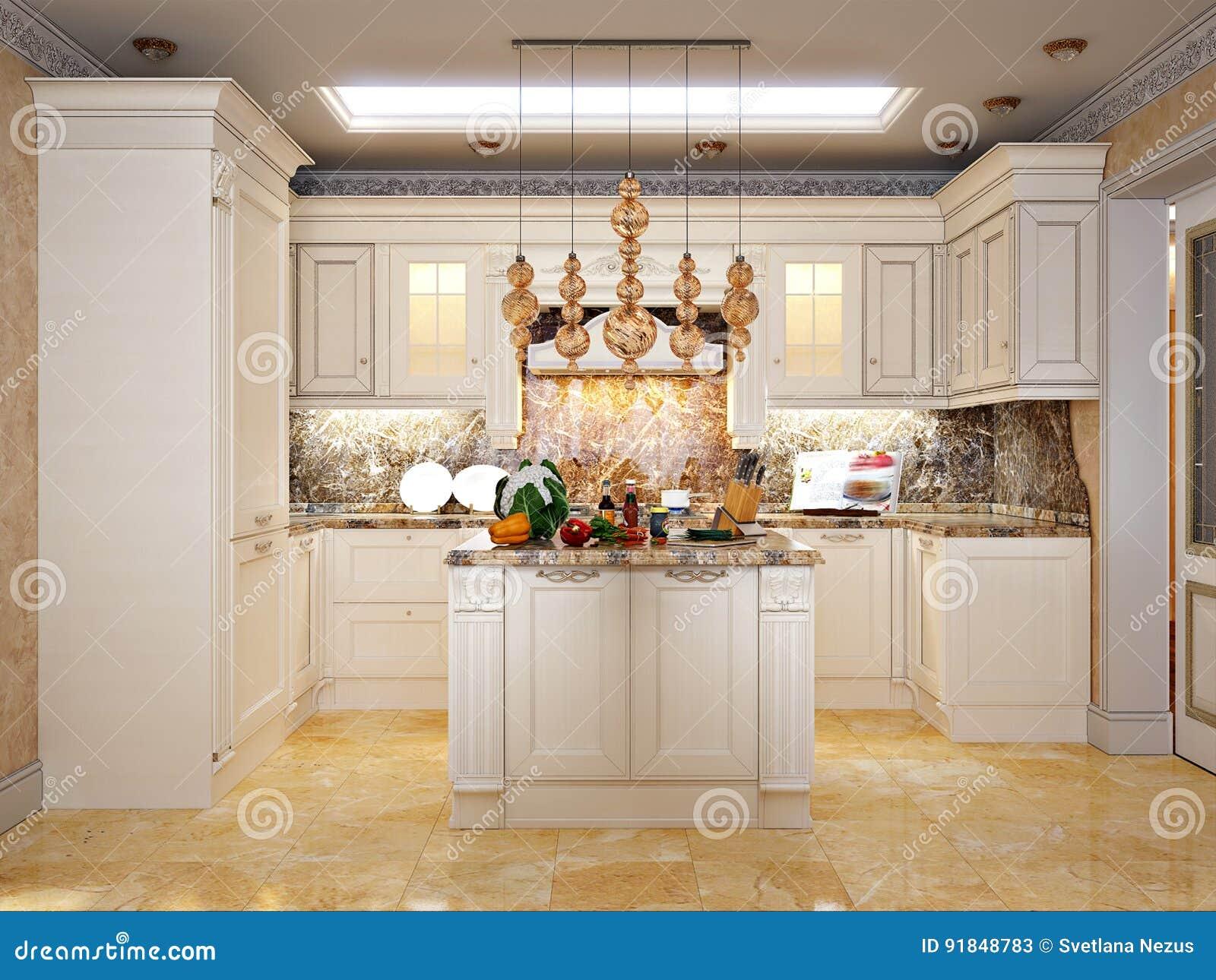 Luxuriose Klassische Barocke Kuche Und Esszimmer Stock Abbildung