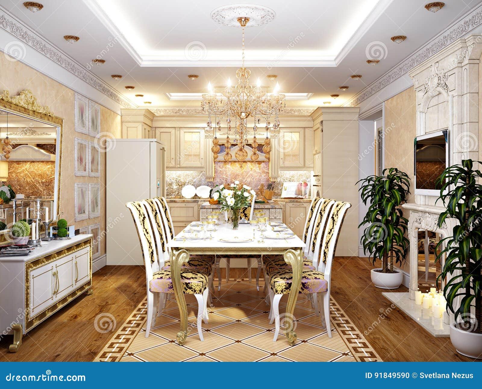 luxuri se klassische barocke k che und esszimmer stock abbildung illustration von kondominium. Black Bedroom Furniture Sets. Home Design Ideas