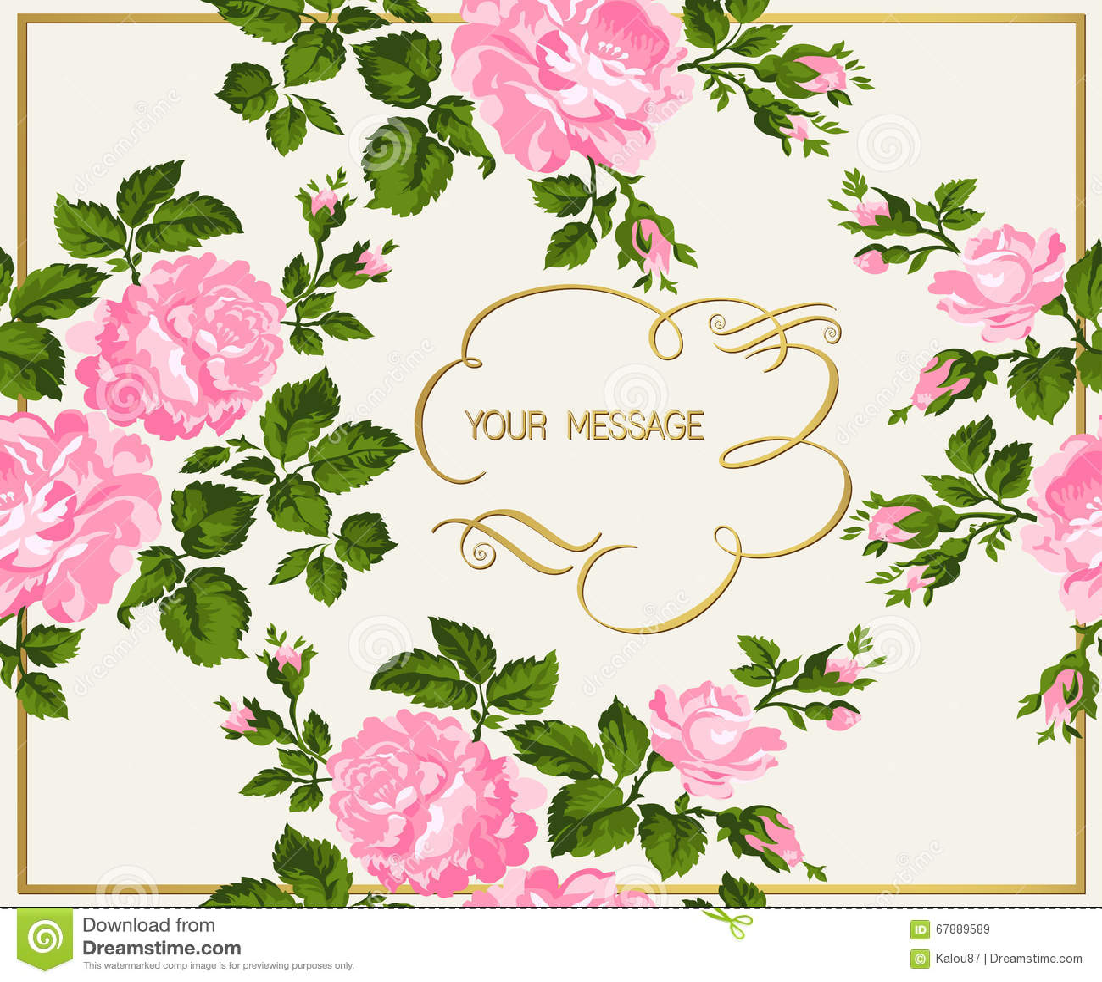 Luxuriöse Weinlesekarte von rosa Rosen mit Goldkalligraphie Auch im corel abgehobenen Betrag