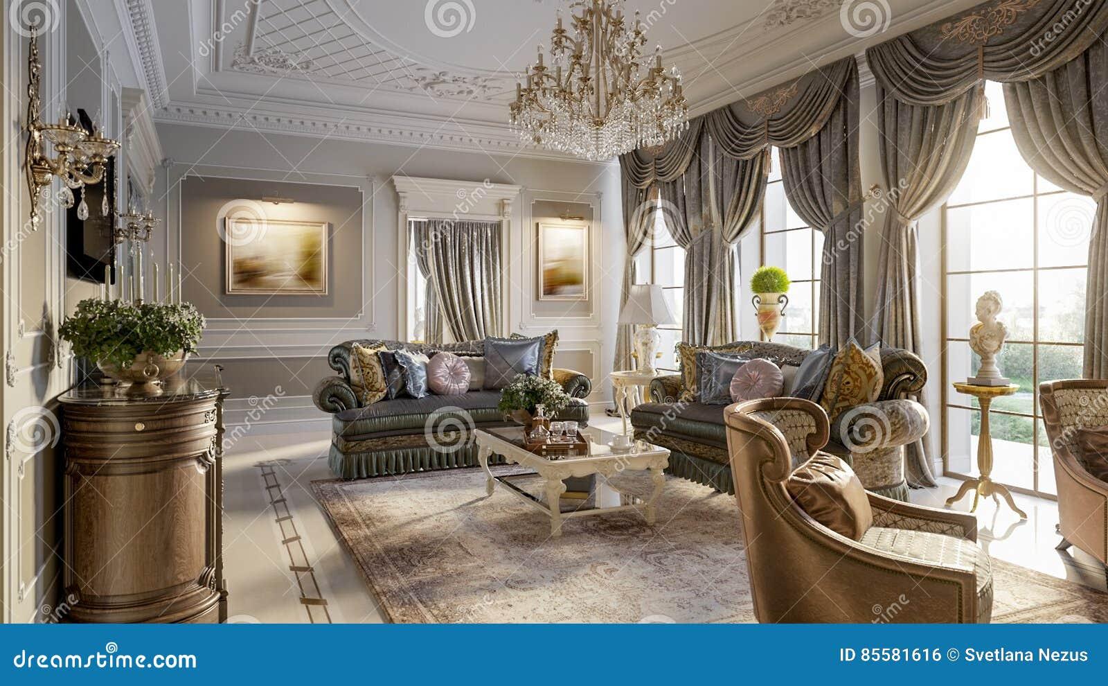 Luxurioses Barockes Wohnzimmer Stock Abbildung Illustration Von