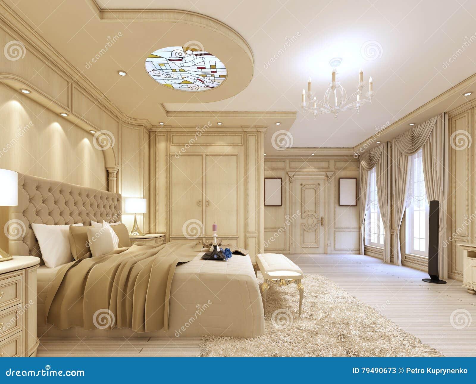 Luxurioses Schlafzimmer In Den Pastellfarben In Einer Neoklassischen