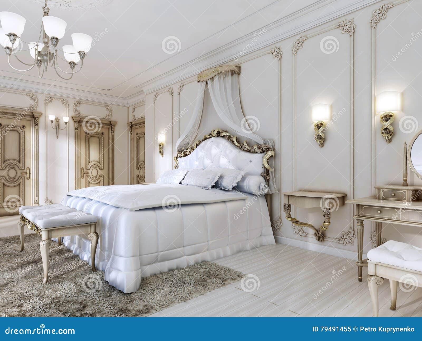 Download Luxuriöses Schlafzimmer In Den Weißen Farben In Einer Klassischen  Art Stock Abbildung   Illustration Von