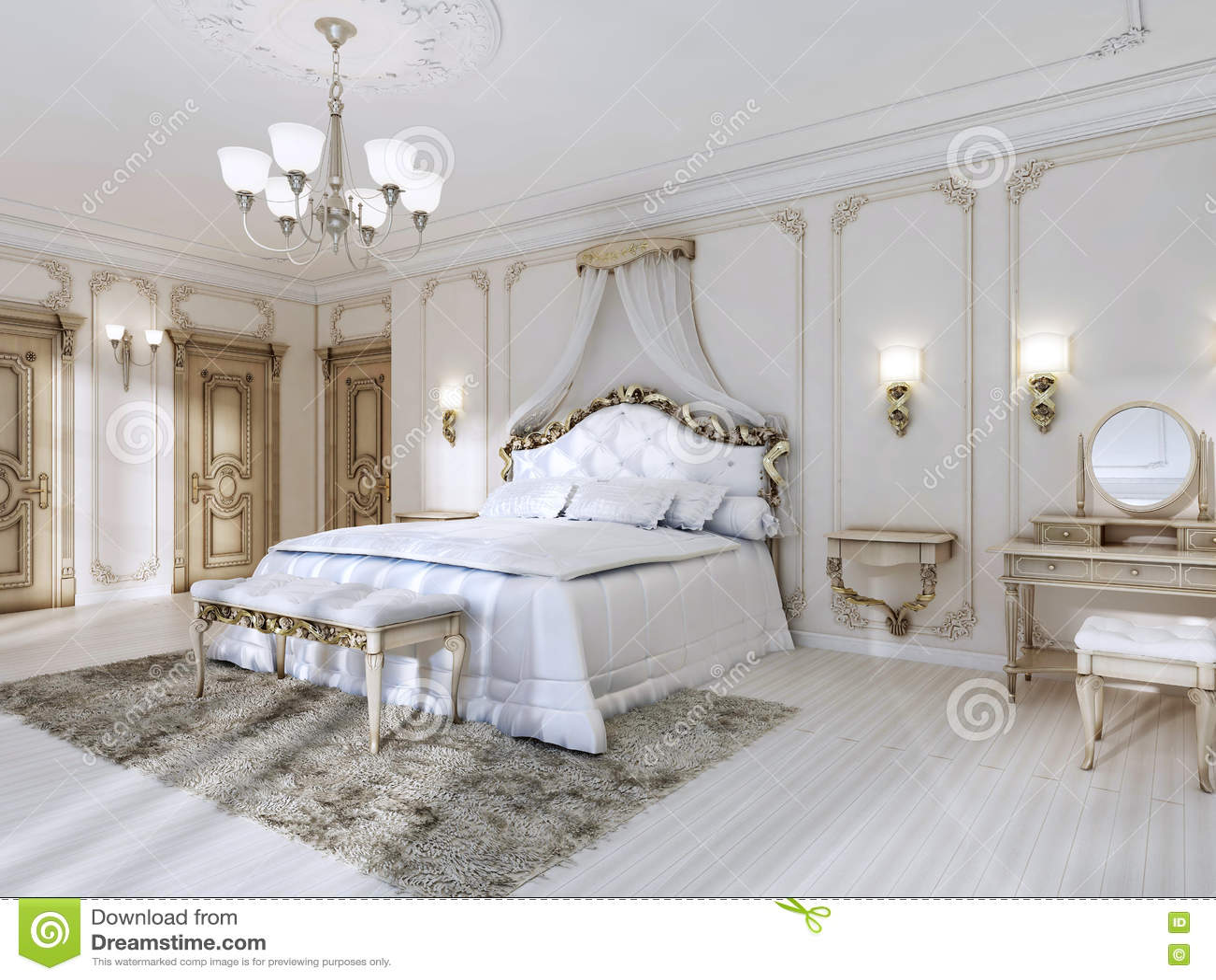 Attraktiv Download Luxuriöses Schlafzimmer In Den Weißen Farben In Einer Klassischen  Art Stock Abbildung   Illustration Von