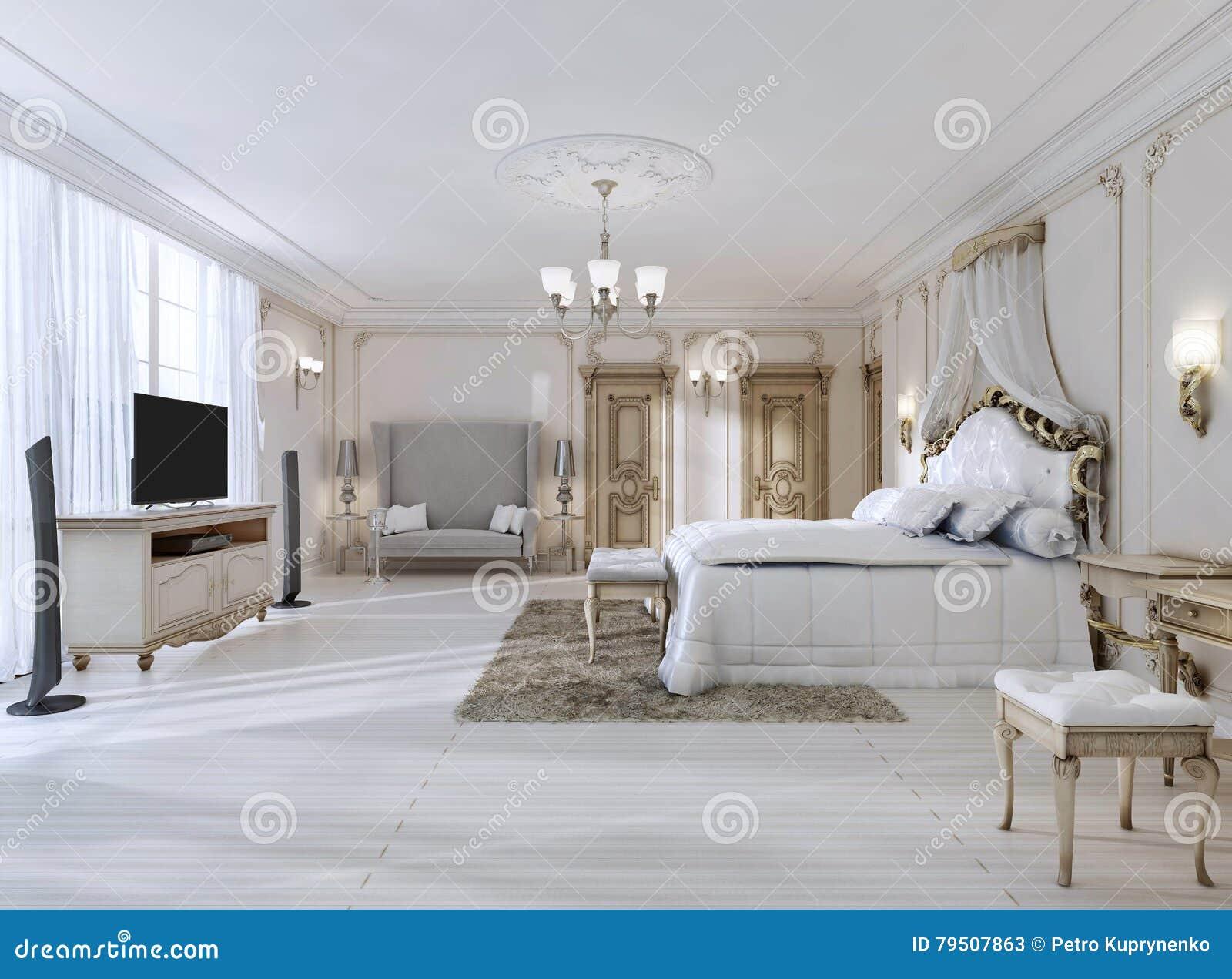 luxuriöses schlafzimmer in den weißen farben in einer klassischen, Schlafzimmer entwurf