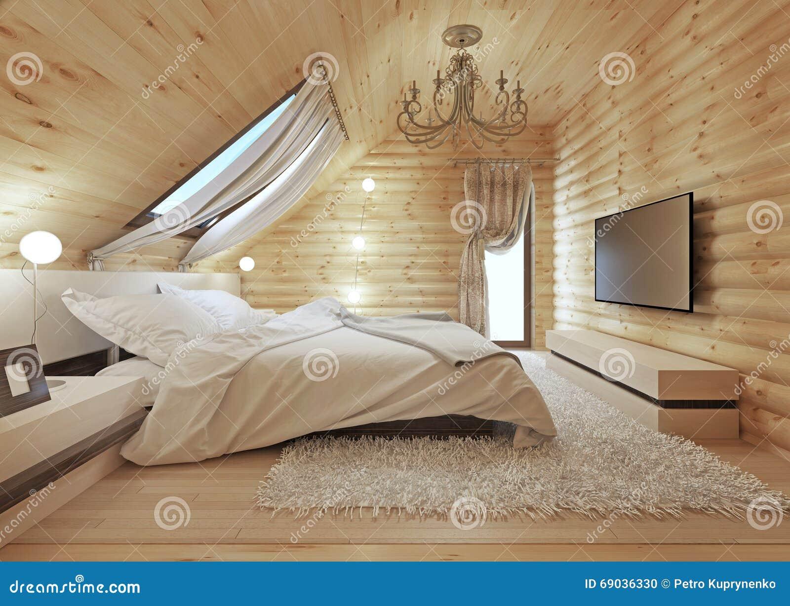 Download Luxuriöses Schlafzimmer In Der Modernen Art, Mit Einem Dachfenster  Im Klotz Stock Abbildung