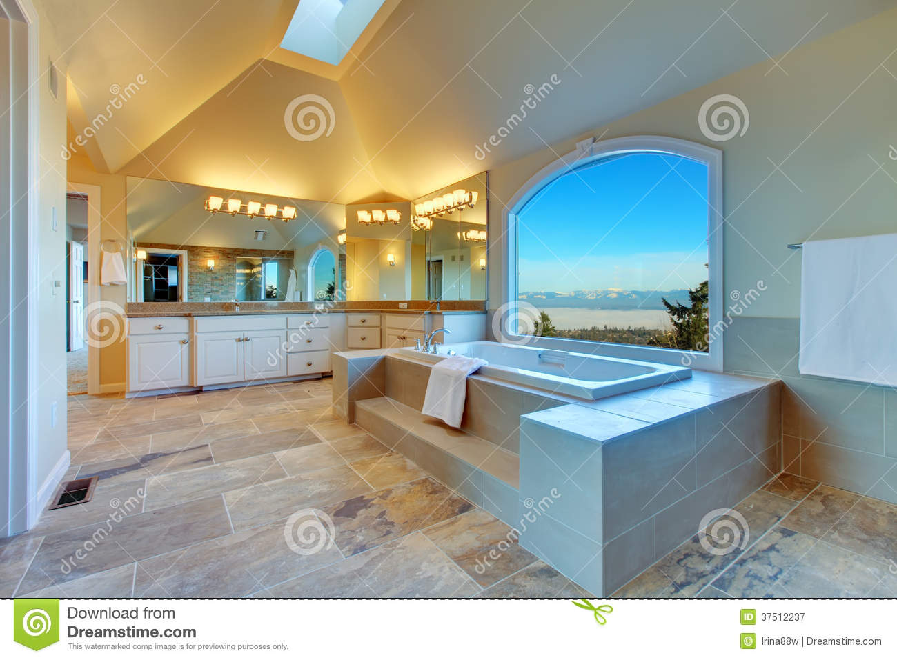 Luxuriant Bathroom With Whirlpool And Amazing Window View Stock ...
