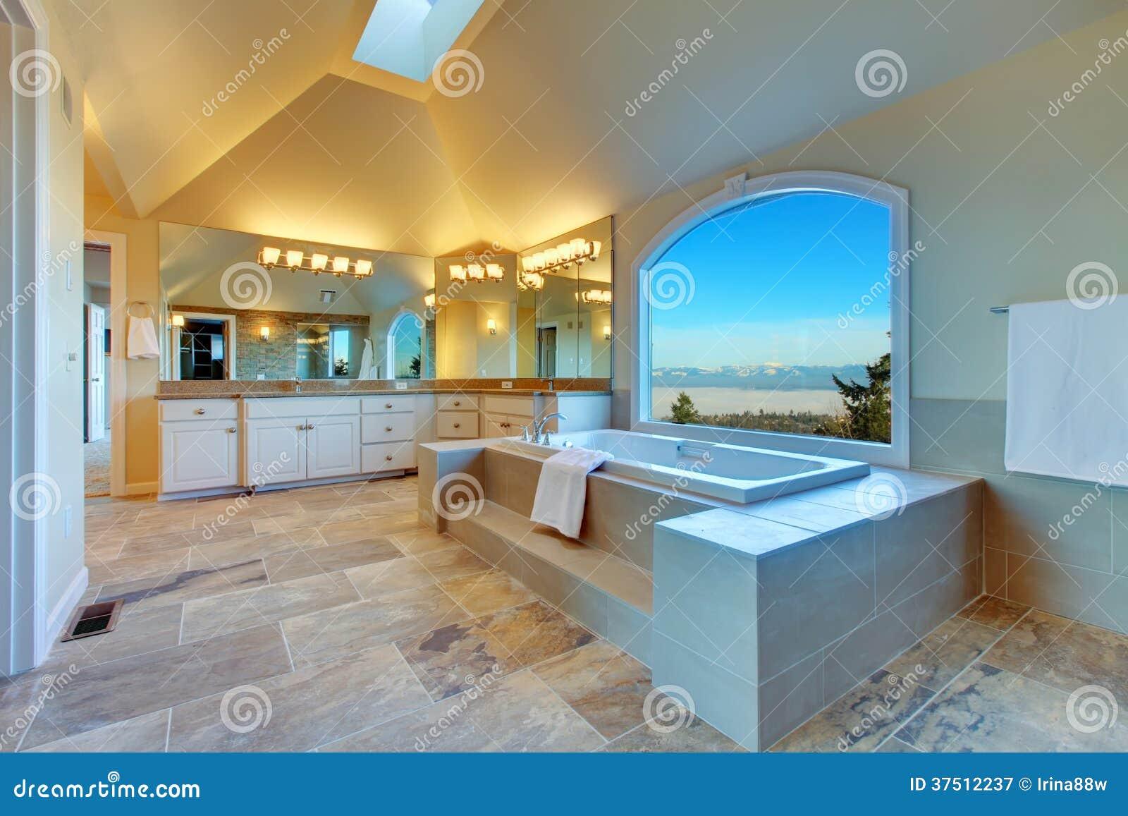 Luxuriant Bathroom With Whirlpool And Amazing Window View Royalty Free  #068EC5 1300x957 Banheiro Com Banheira Integrada