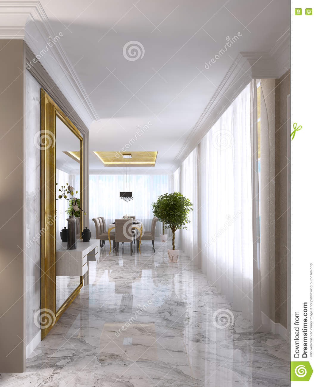 Luxurious art deco entrance hall with a large designer for Drawing hall wall designs