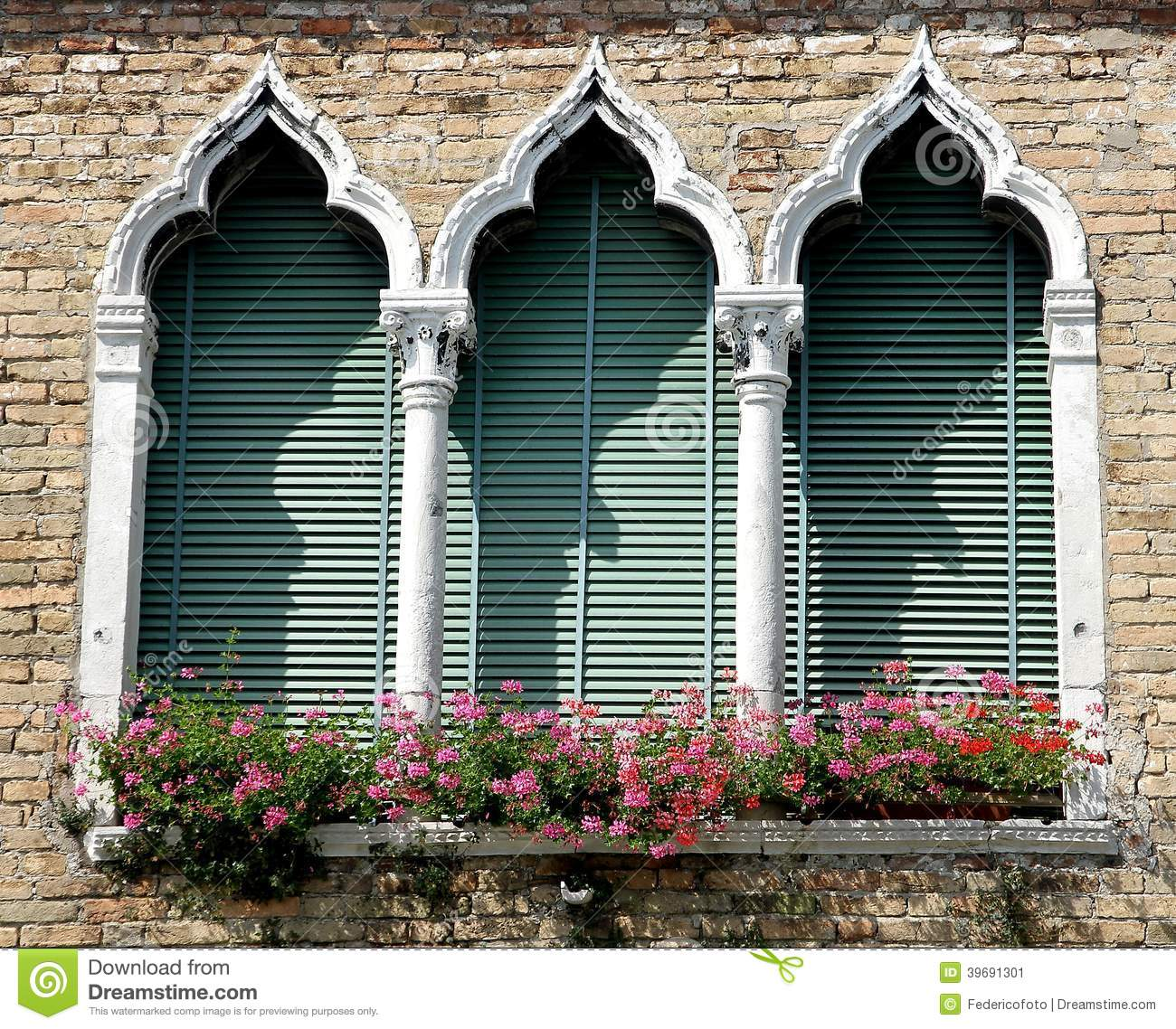 Luxurious Balcony In Venetian Style With Arched Windows