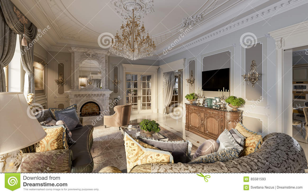 Luxurious Baroque Living Room In Large Classic Style House With Marble Fireplace Floors And Ceiling Decorated Molded Ornaments 3d Render
