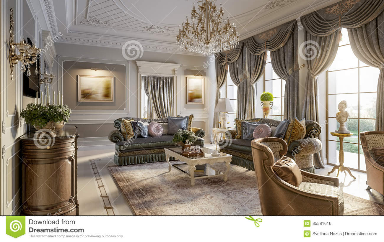 Luxurious baroque living room stock illustration image for Baroque living room ideas