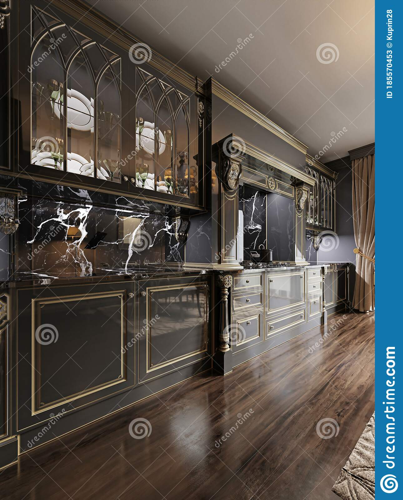 Luxurious Baroque Style Kitchen Furniture Design Black Marble Kitchen Apron And Black Patel Meel Stock Illustration Illustration Of Appliance Cabinet 185570453