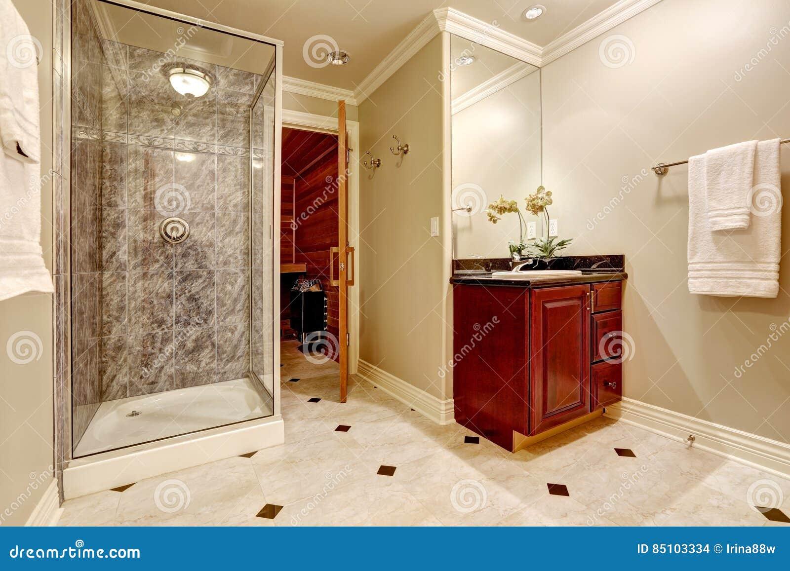 Luxurious Bathroom Interior Design With Sauna
